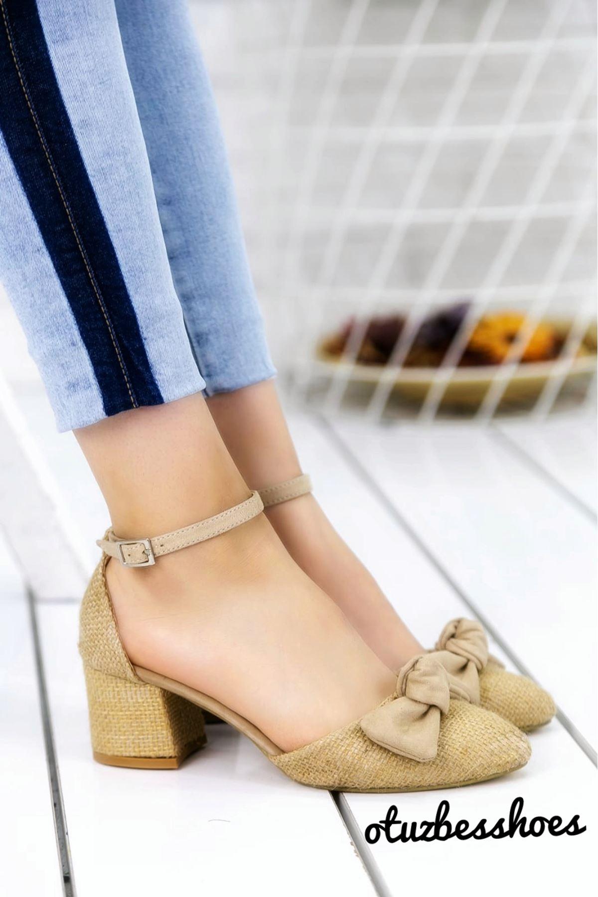 Hasır Fiyonk Detay Sivri Burun Ayakkabı Ten