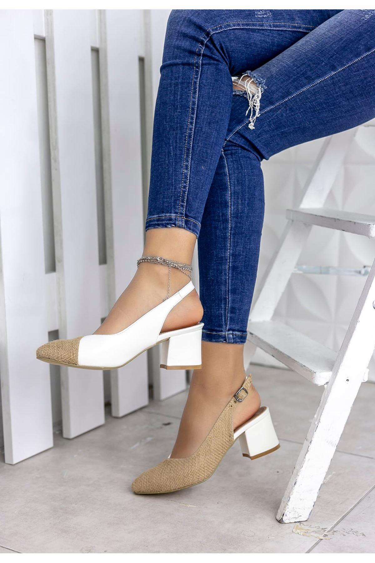 Diana Hasır Detay Sivri Burun Ayakkabı Beyaz