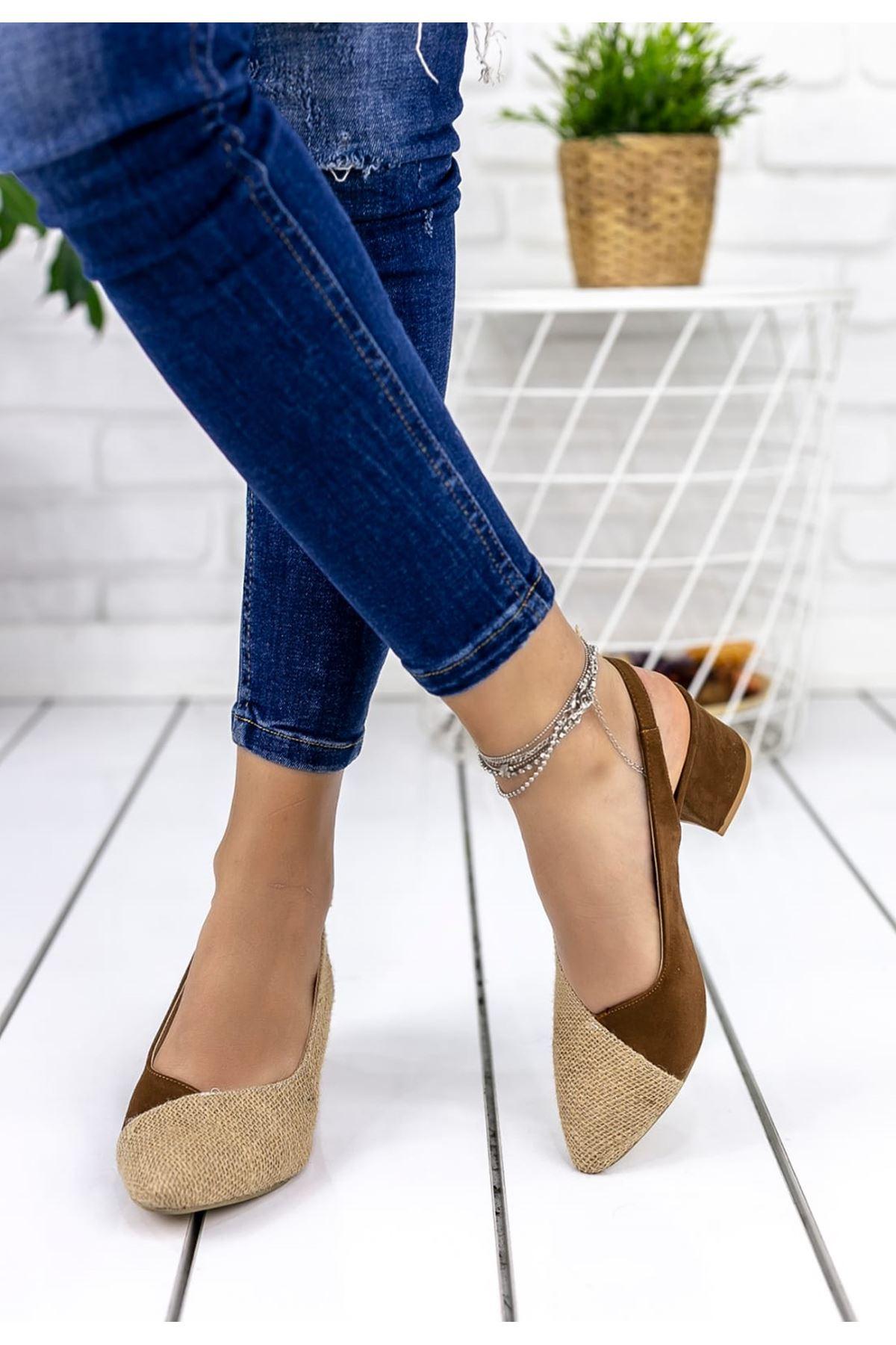 Diana Hasır Detay Sivri Burun Ayakkabı Taba