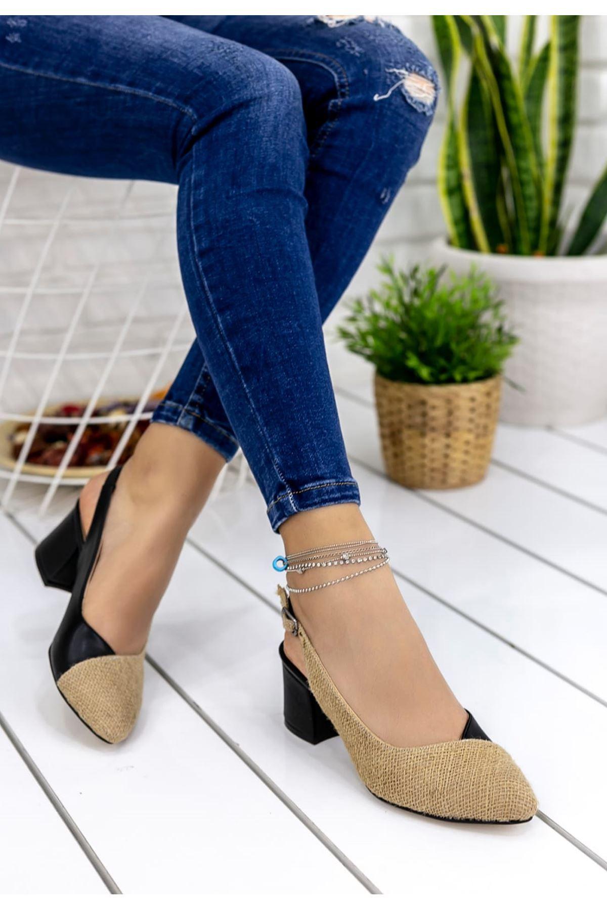 Diana Hasır Detay Sivri Burun Ayakkabı Siyah