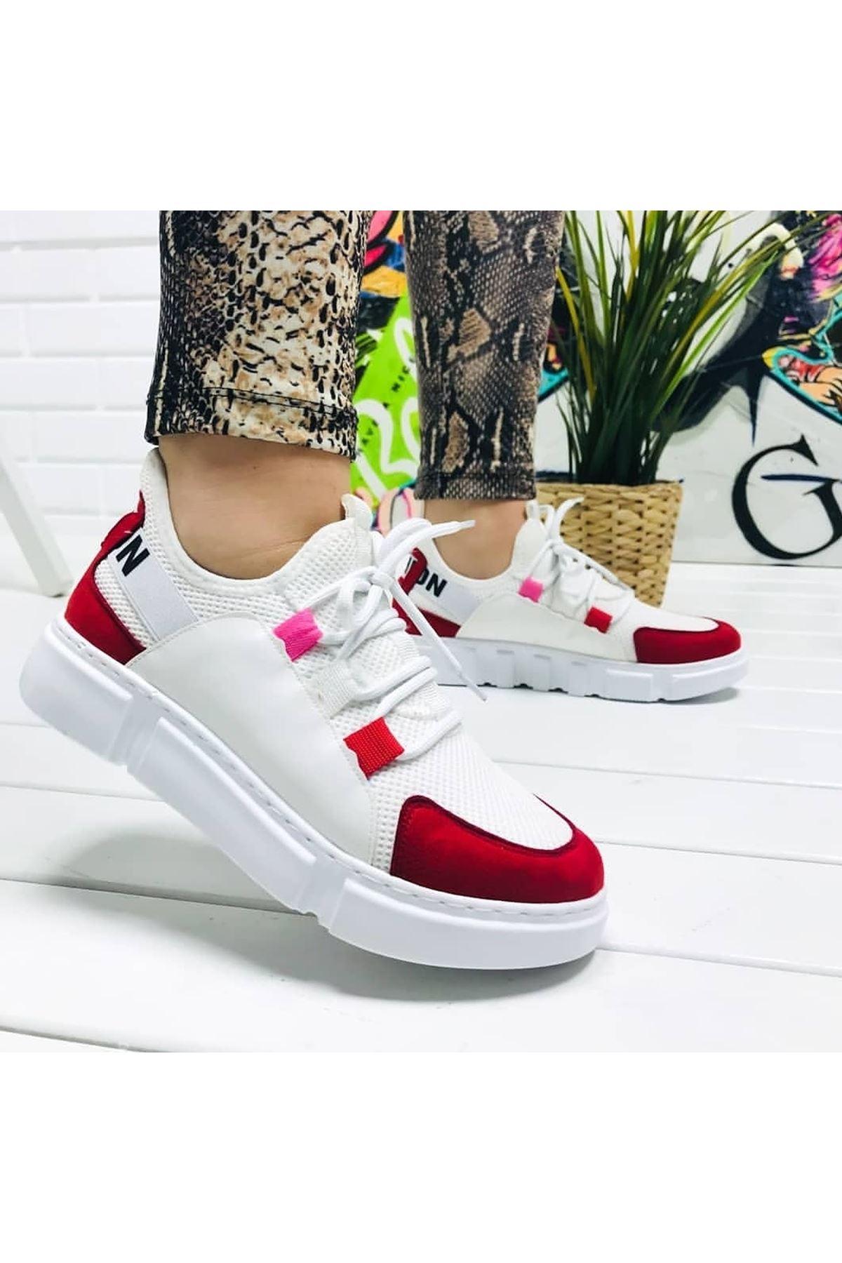 Fashion Yazı Detay Bayan Spor Ayakkabı Kırmızı