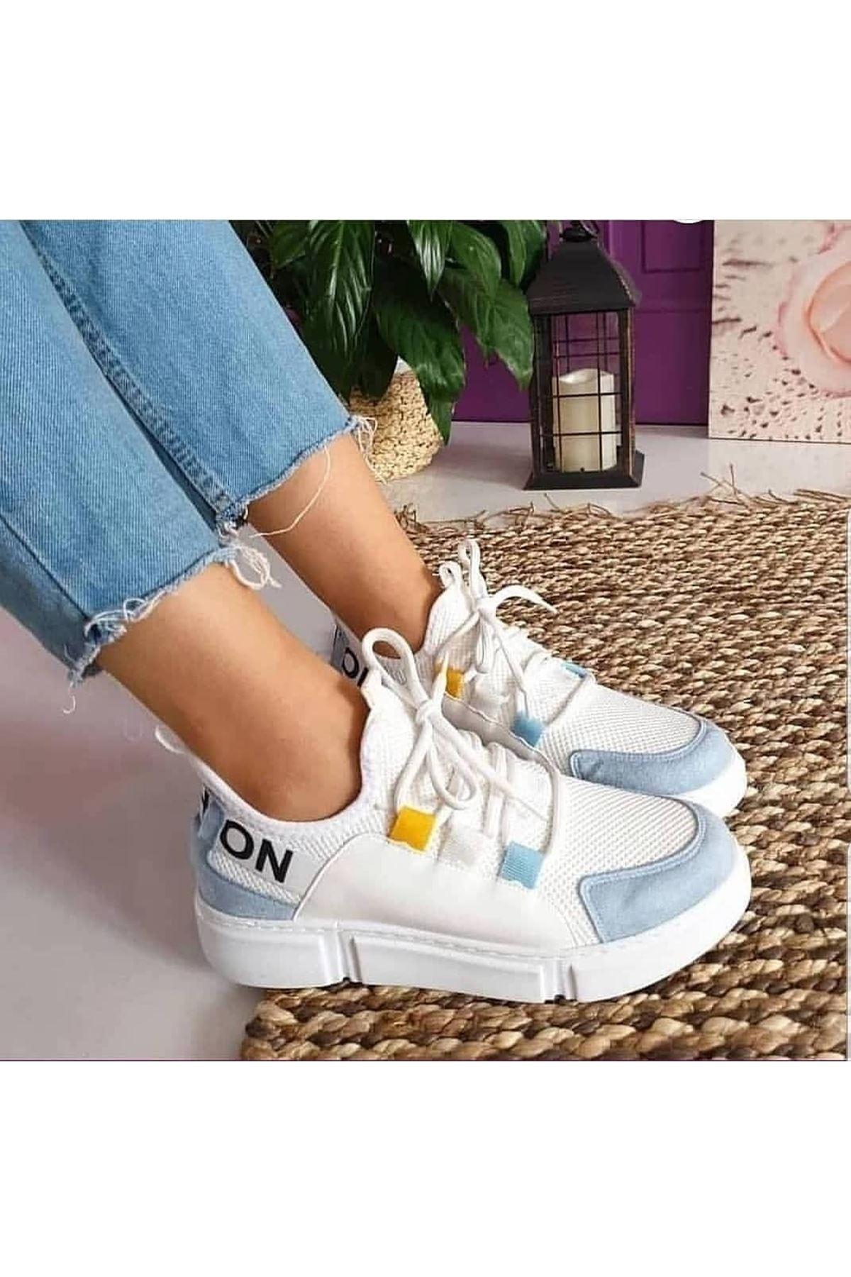 Fashion Yazı Detay Bayan Spor Ayakkabı Bebe Mavi