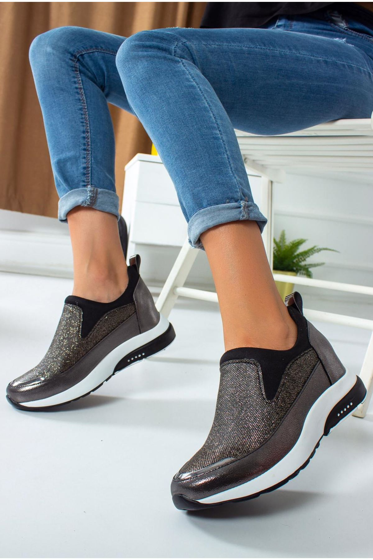 Kamuflaj Rugan Kadın Sneakers Platin