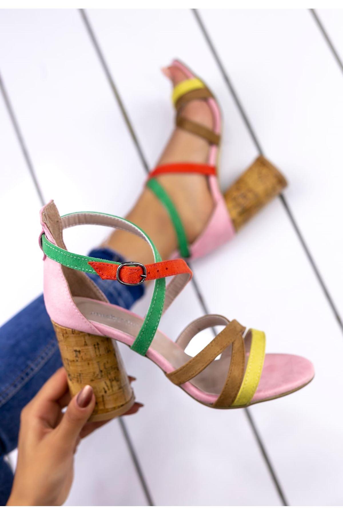 Diva Süet Yüksek Topuklu Kadın Ayakkabı Pudra