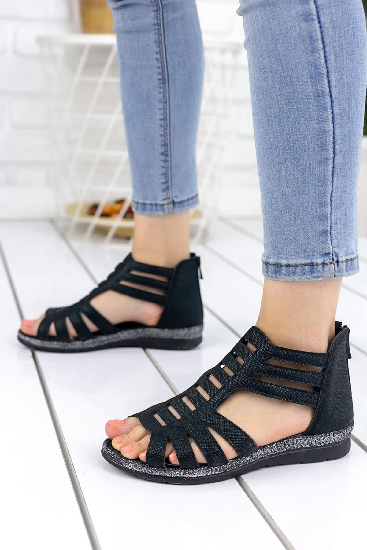 Shiro Mat Deri Sandalet Siyah