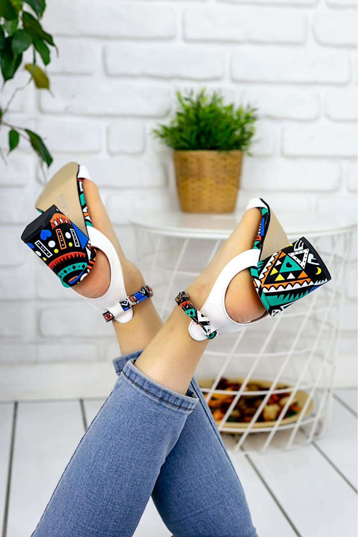 Candy Rugan Tek Bant Topuklu Ayakkabı Beyaz