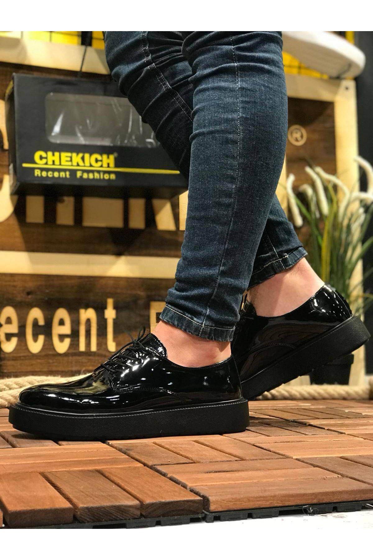 Chekich CH001 Rugan Siyah Taban Erkek Ayakkabı SIYAH