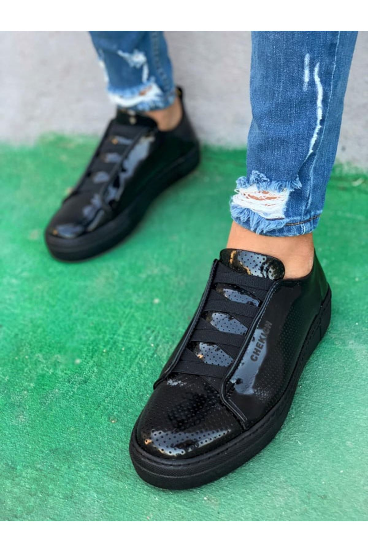 Chekich CH011 Rugan ST Erkek Ayakkabı SIYAH