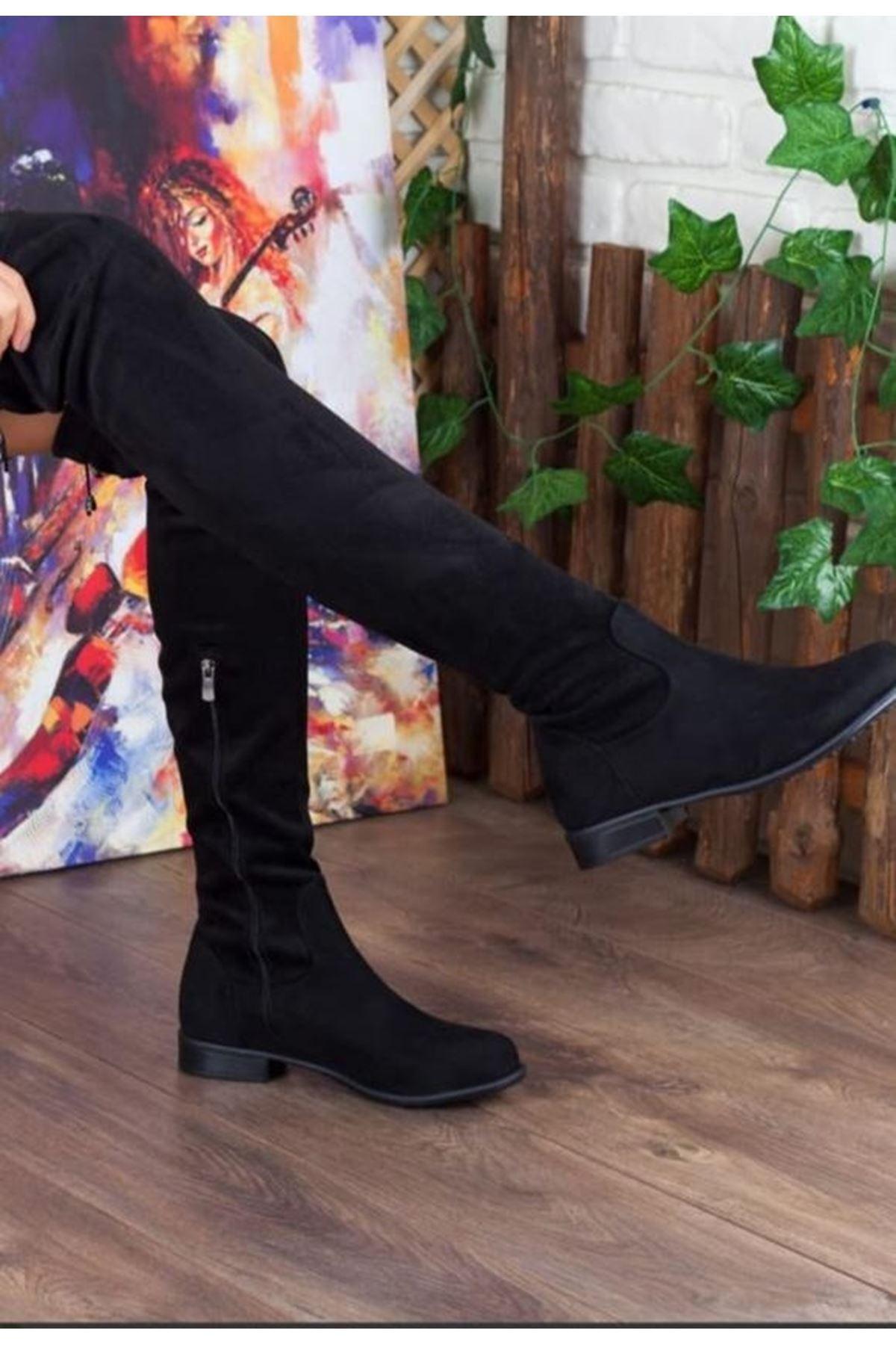 Truff Süet Streç Çorap Çizme Siyah 3 CM