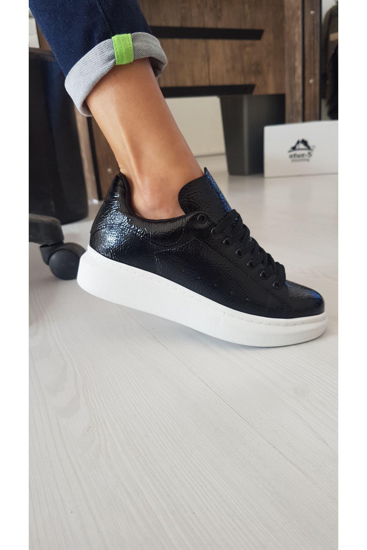 RMS Kırışık Rugan  Sneakers Günlük Spor Ayakkabı Siyah