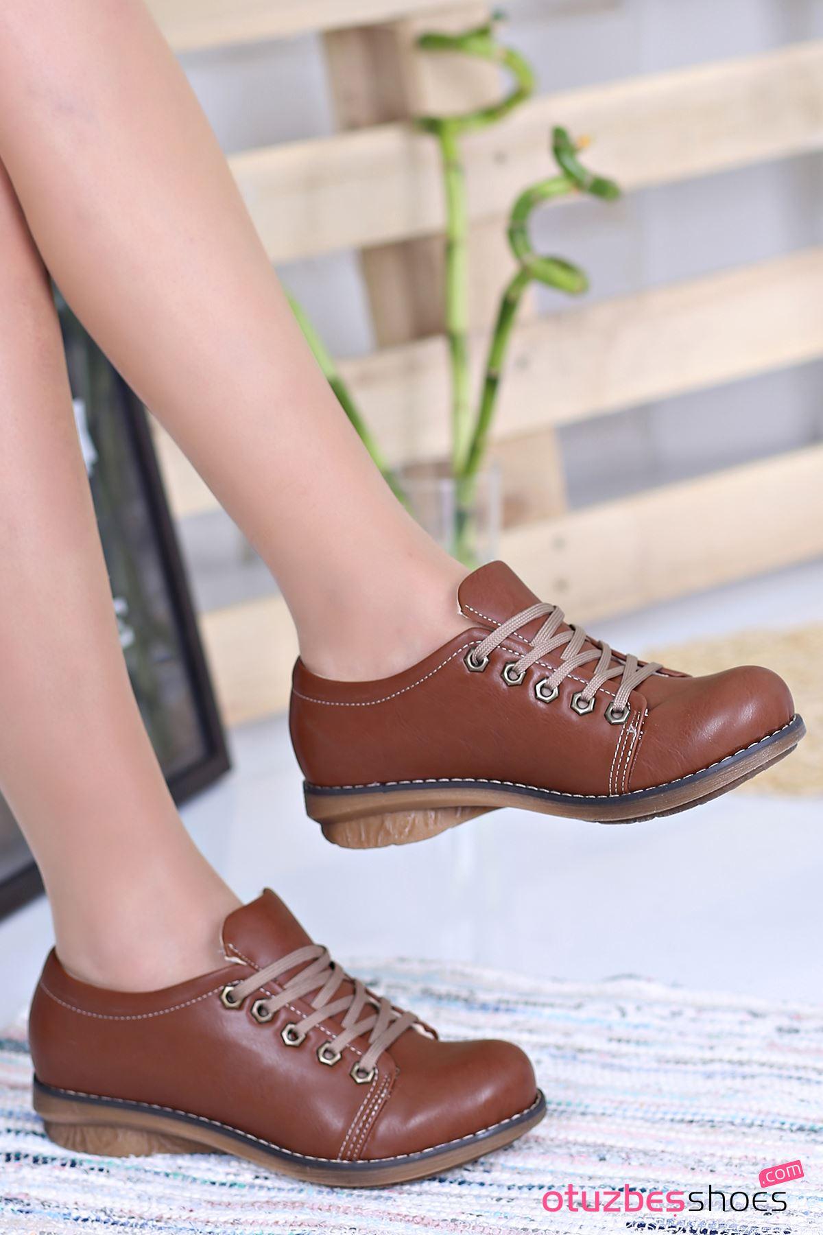 Derina Mat Deri Bağcık Detay Ayakkabı Taba
