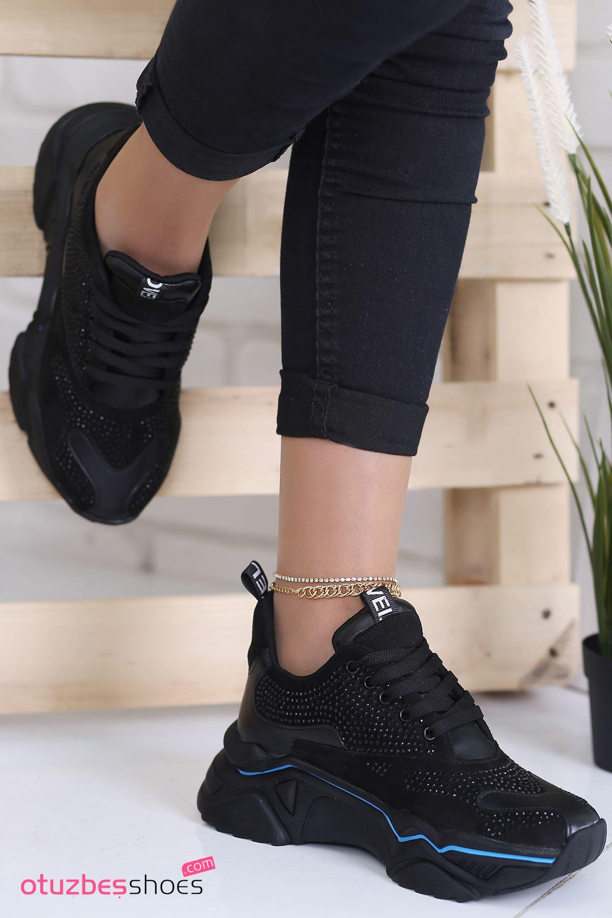 Ajda Süet Mavi Şeritli Taş Detay Spor Ayakkabı Siyah