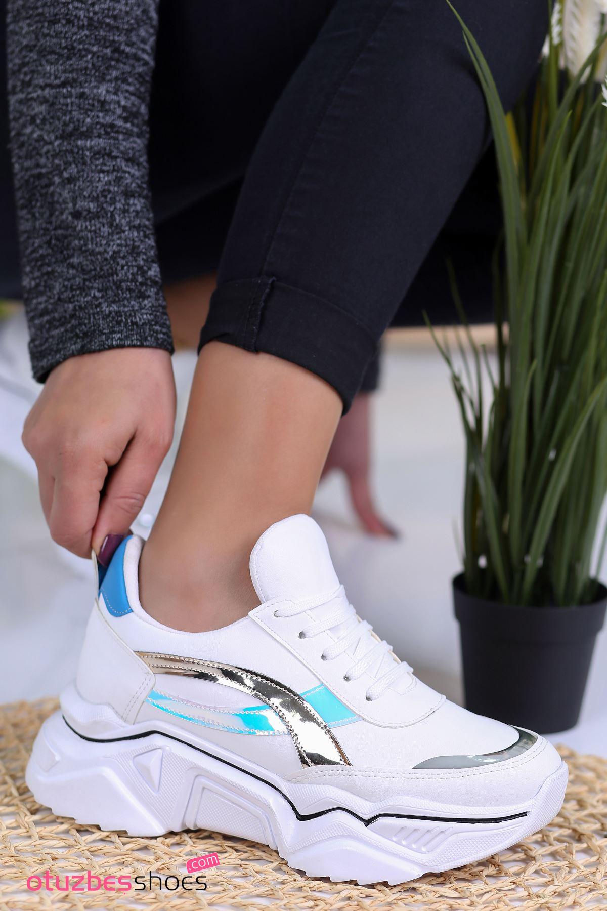 Ayça Mat Deri Hologram Detay Bağcıklı Spor Ayakkabı Beyaz