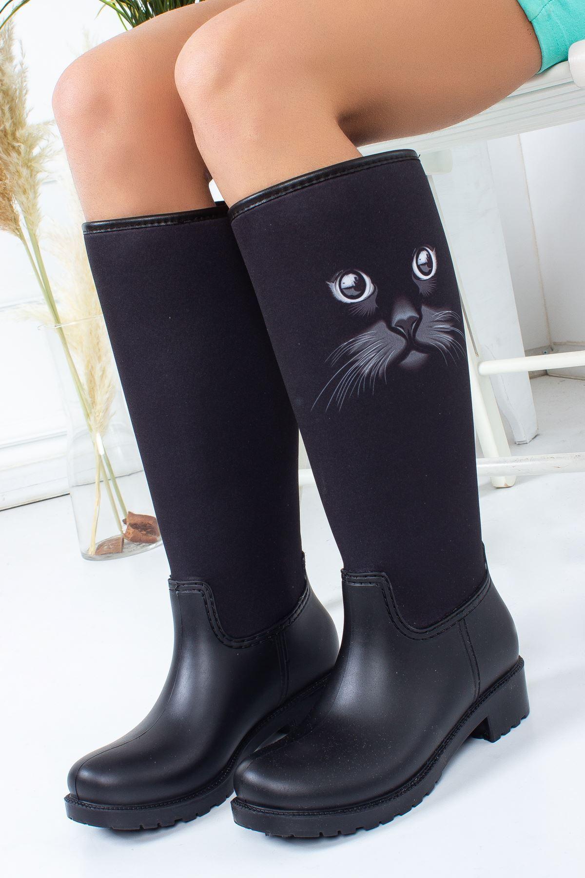 Cat Kedi Figürlü Yağmur Çizmesi