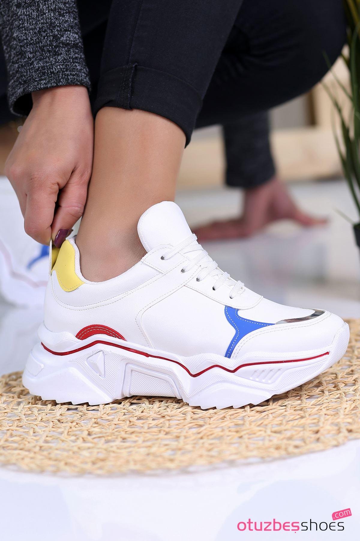 Ayça Mat Deri Renkli Detay Bağcıklı Spor Ayakkabı Beyaz