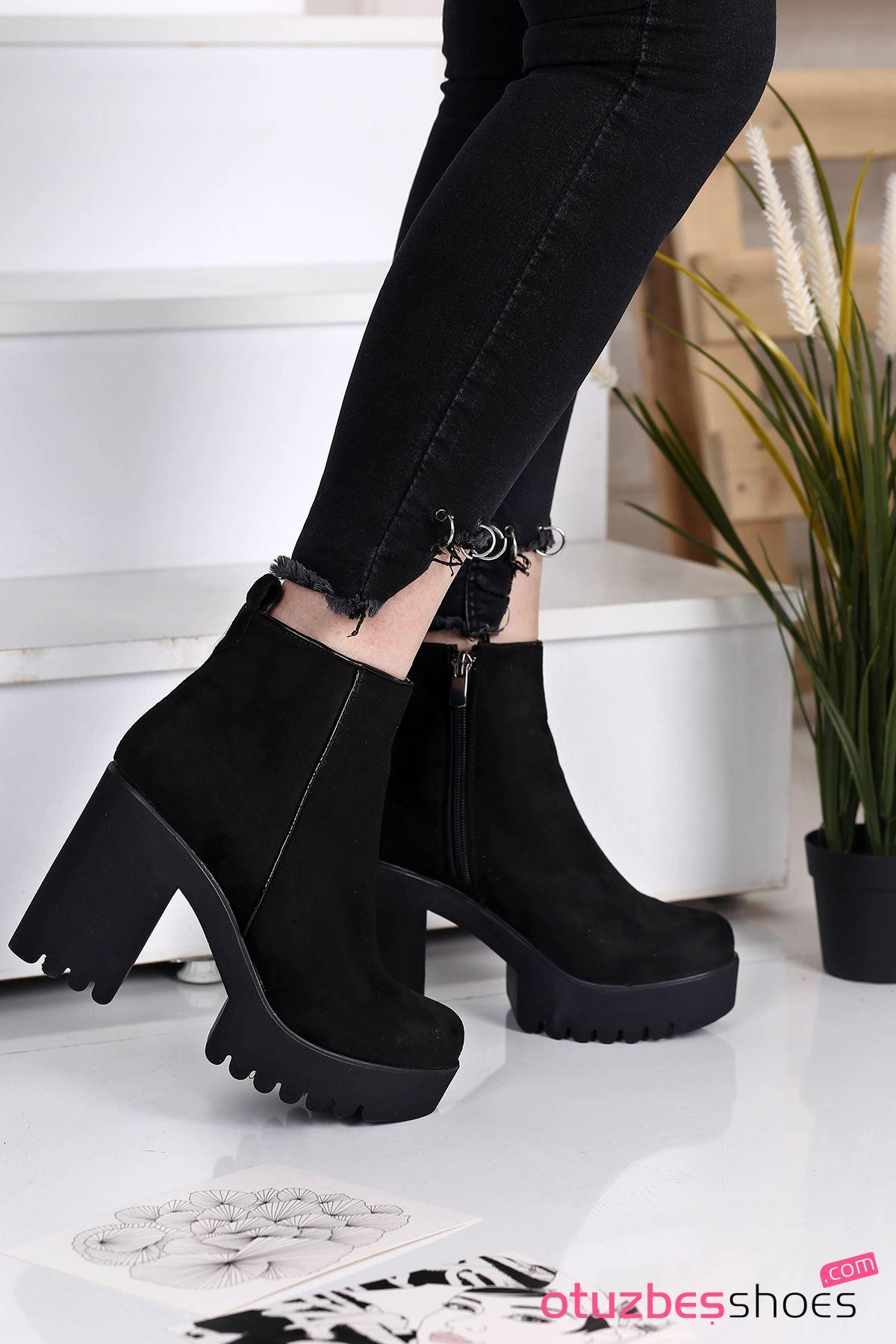 Benna Süet Dikiş Detay Kalın Topuk Bot Siyah