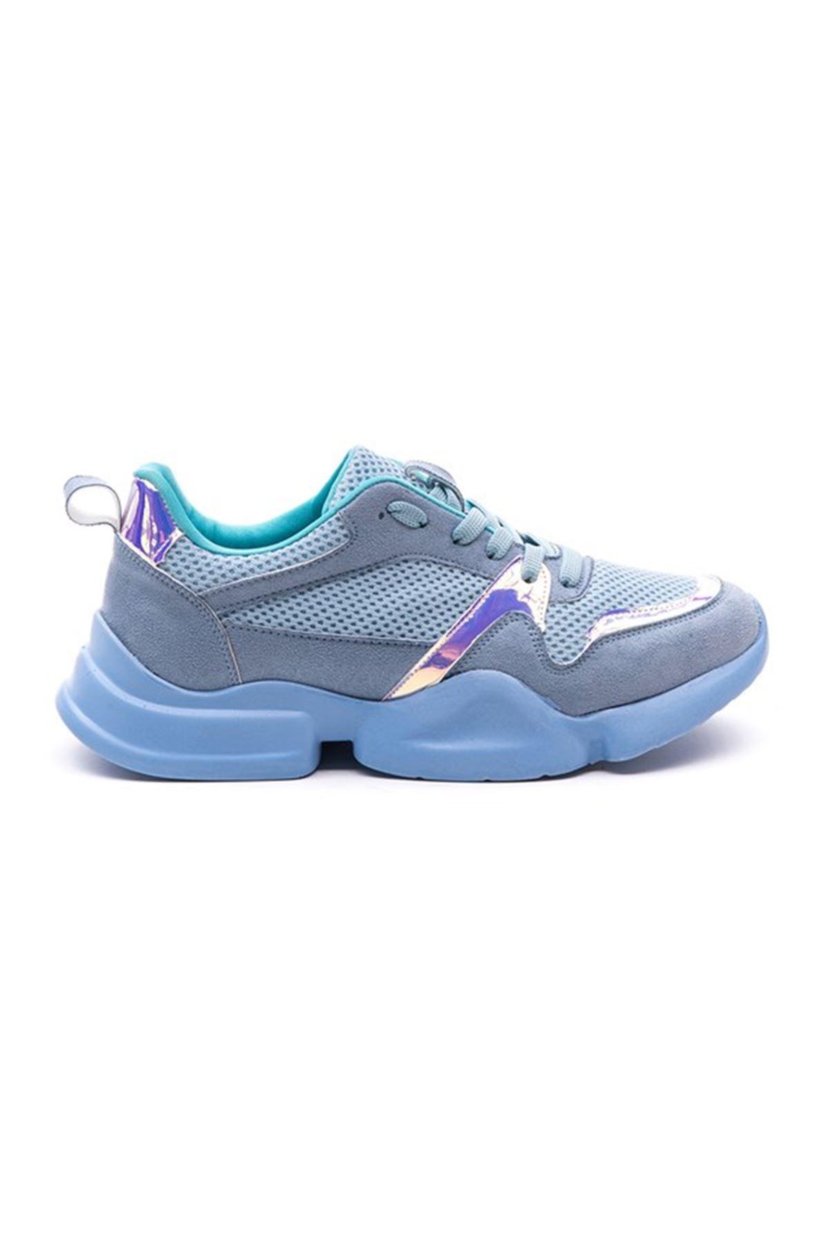 Asuela Süet Hologram Detay Bayan Spor Ayakkabı Mavi