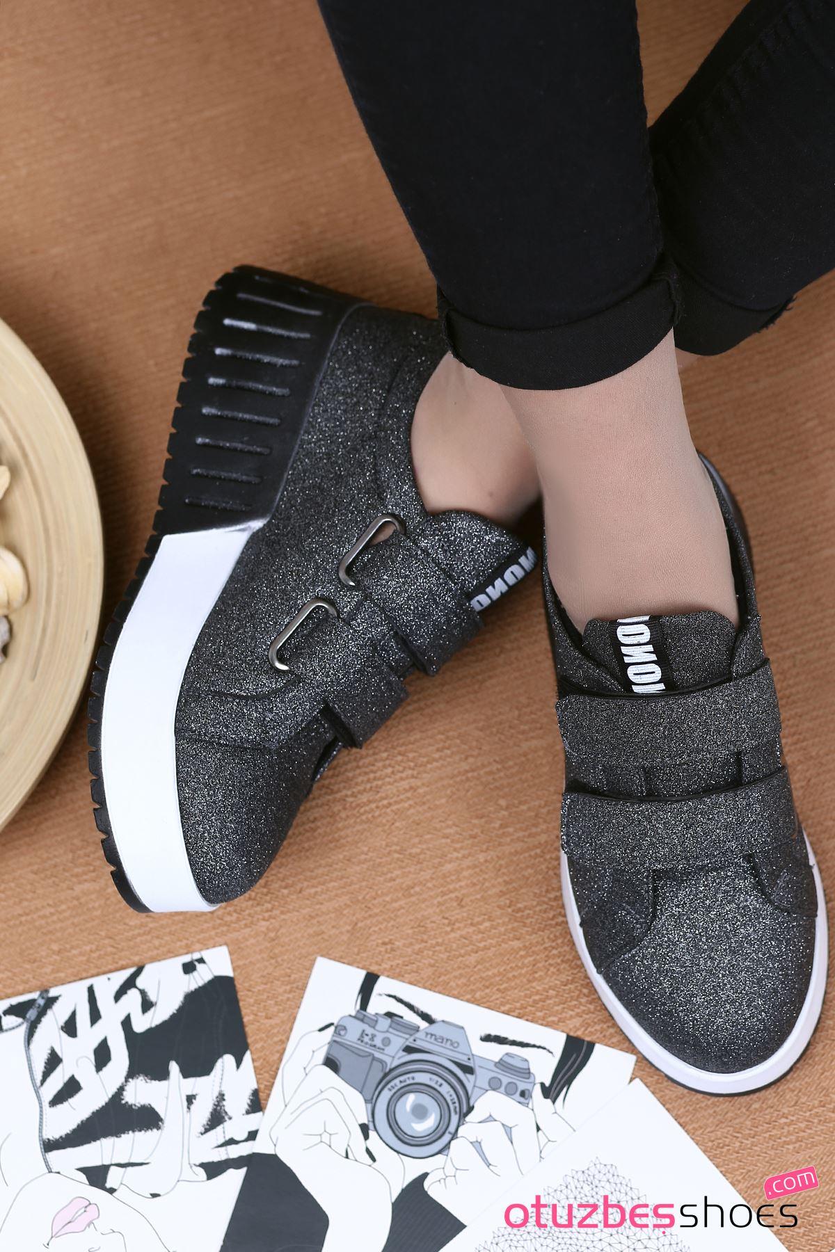 Mosso Simli Cırt Detay Spor Ayakkabı Platin