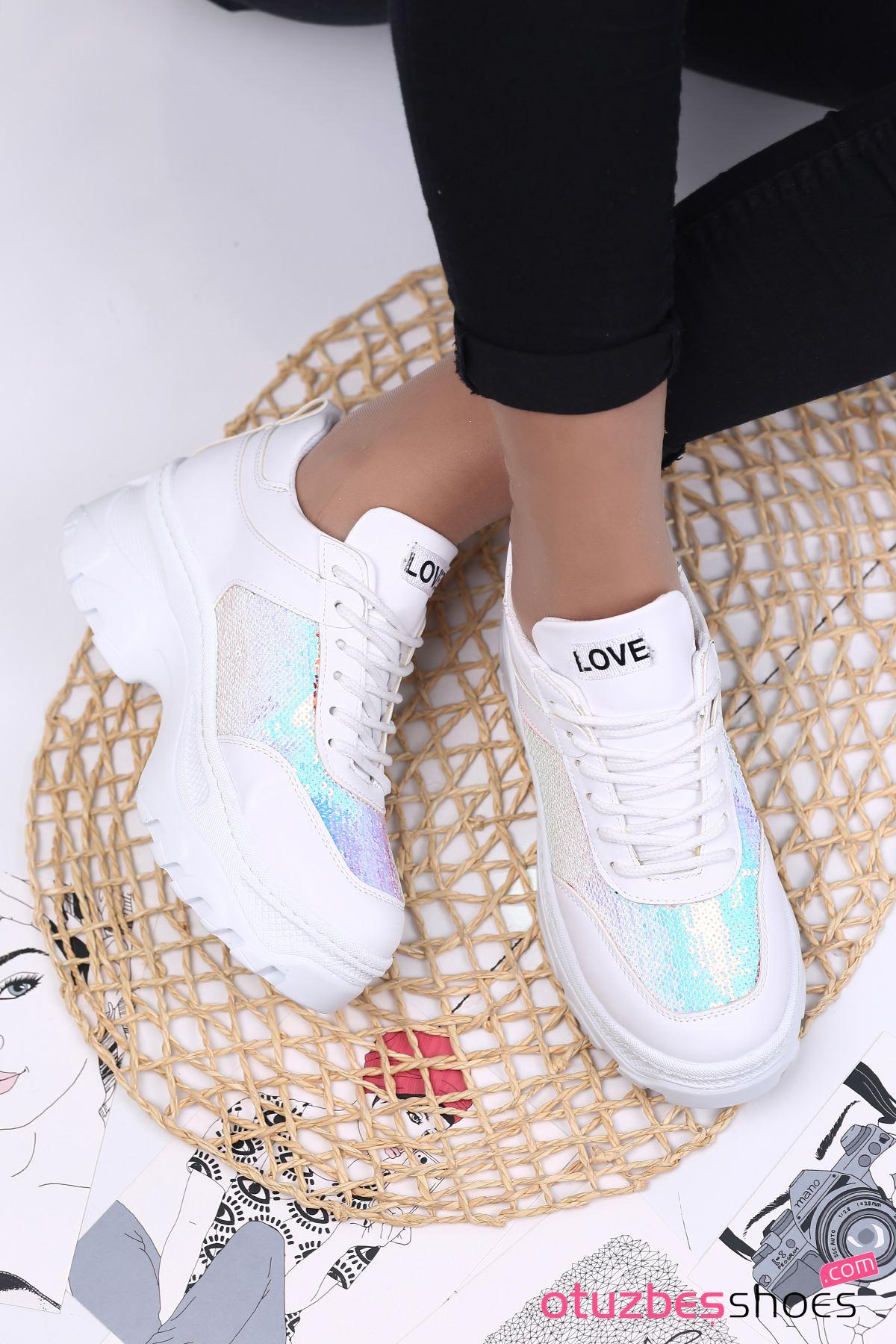 Fiona Mat Deri Pullu Hologram Bayan Spor Ayakkabı Beyaz