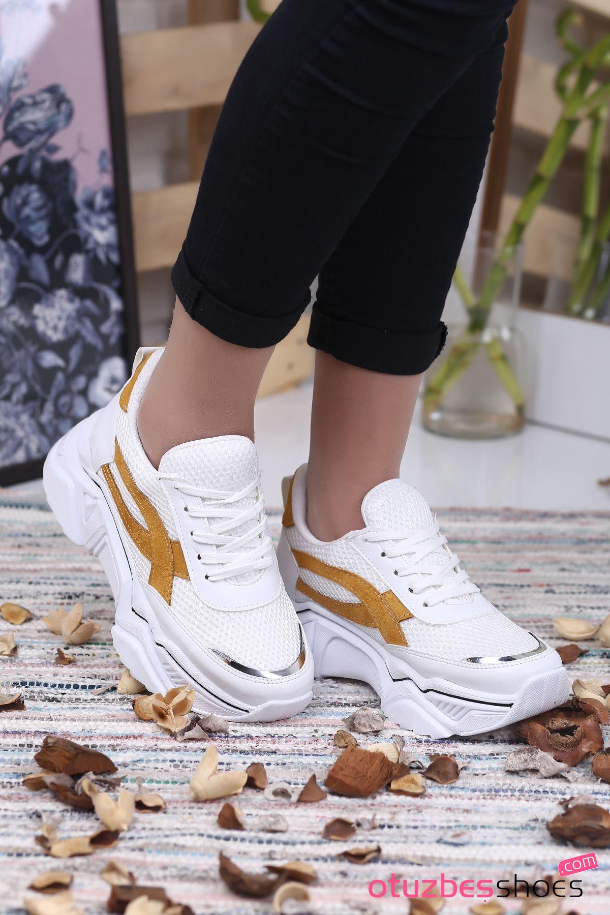Ayça Mat Deri Hardal Detay FİLELİ  Spor Ayakkabı Beyaz
