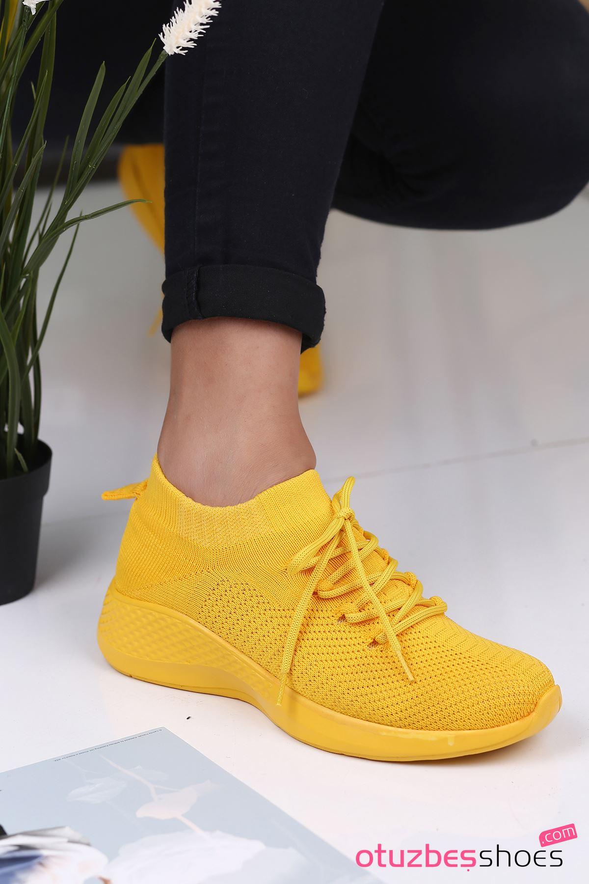 Pops Çelik Örgü Bağcık Detay Triko Kadın Spor Ayakkabı Sarı