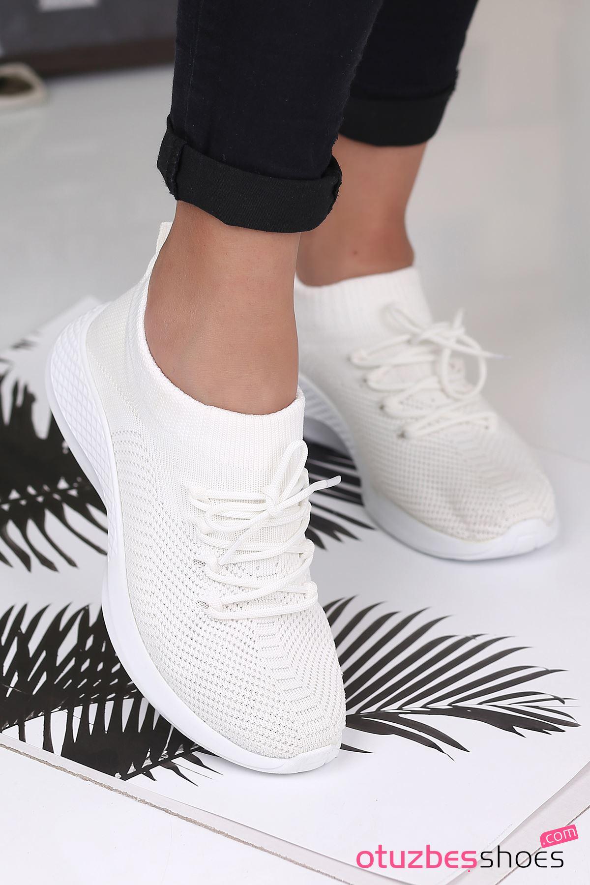 Pops Çelik Örgü Bağcık Detay Triko Kadın Spor Ayakkabı Beyaz