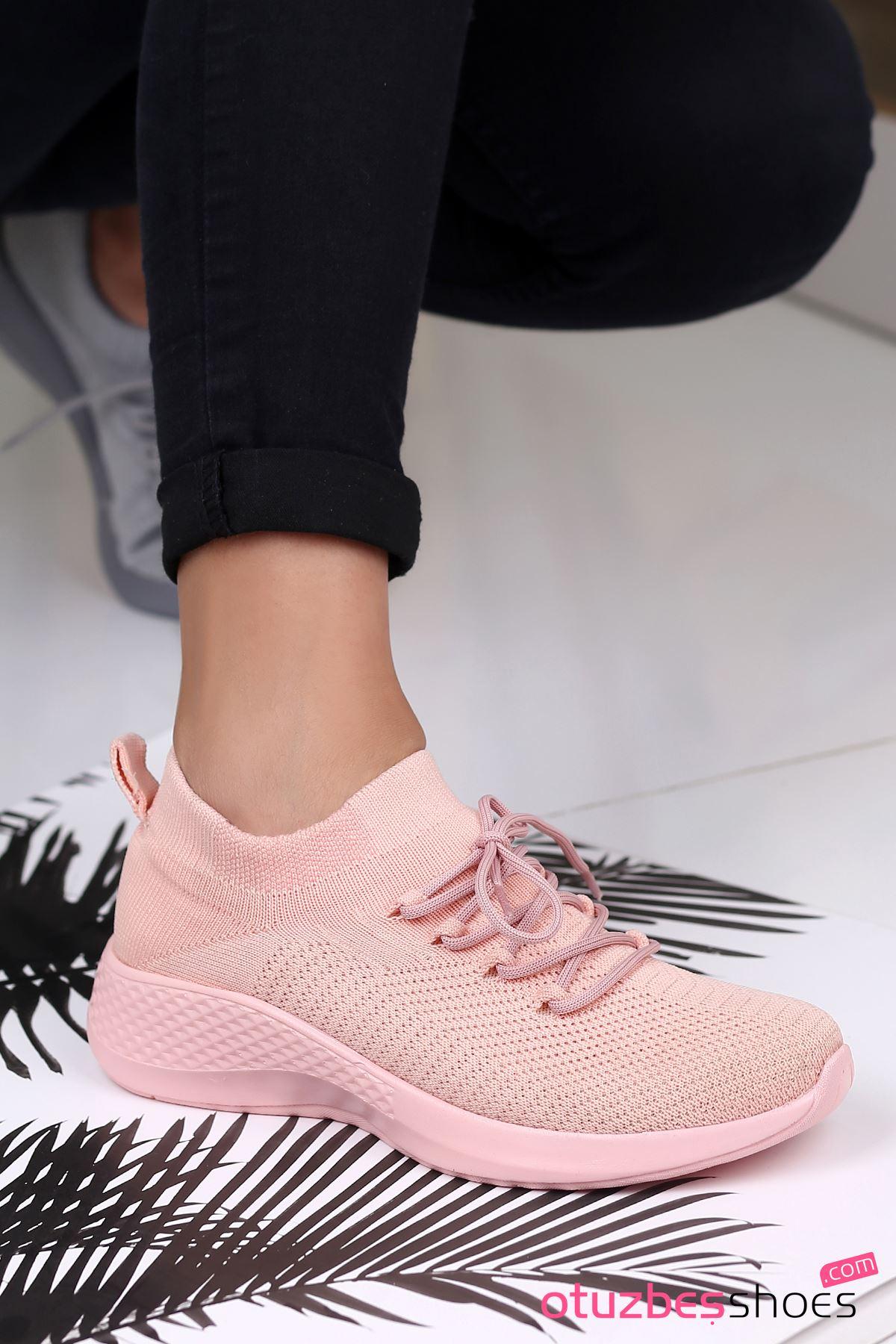 Pops Çelik Örgü Bağcık Detay Triko Kadın Spor Ayakkabı Pudra
