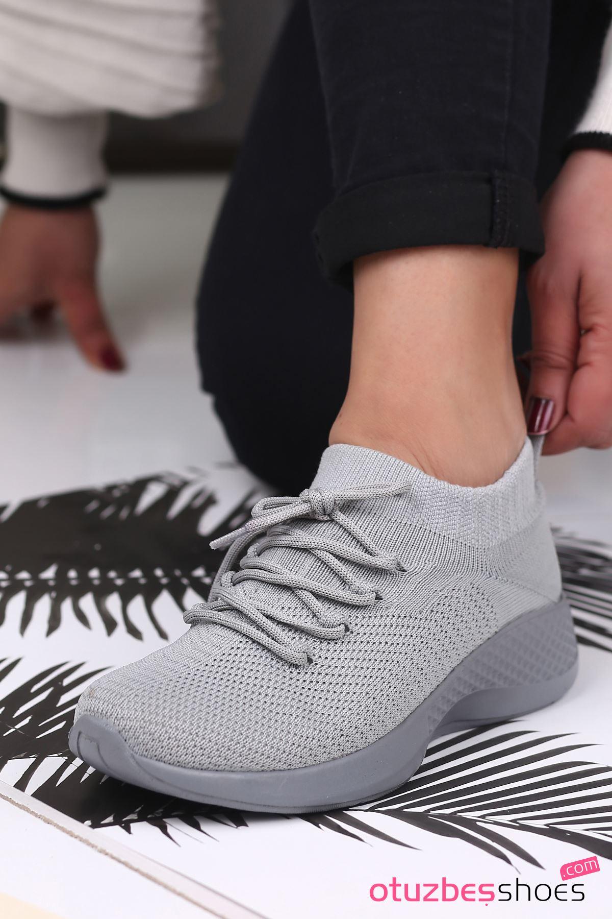 Pops Çelik Örgü Bağcık Detay Triko Kadın Spor Ayakkabı Gri