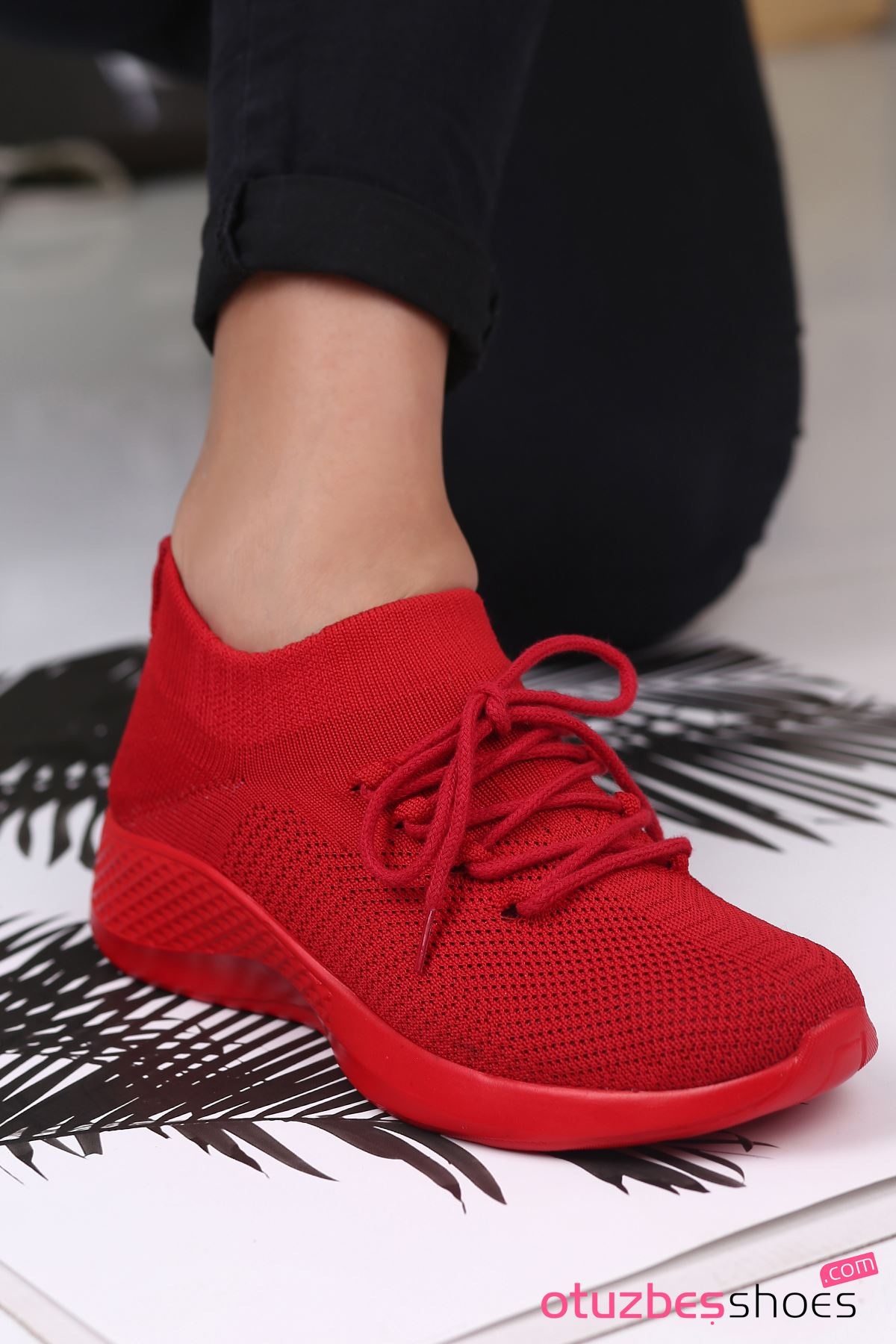 Pops Çelik Örgü Bağcık Detay Triko Kadın Spor Ayakkabı Kırmızı