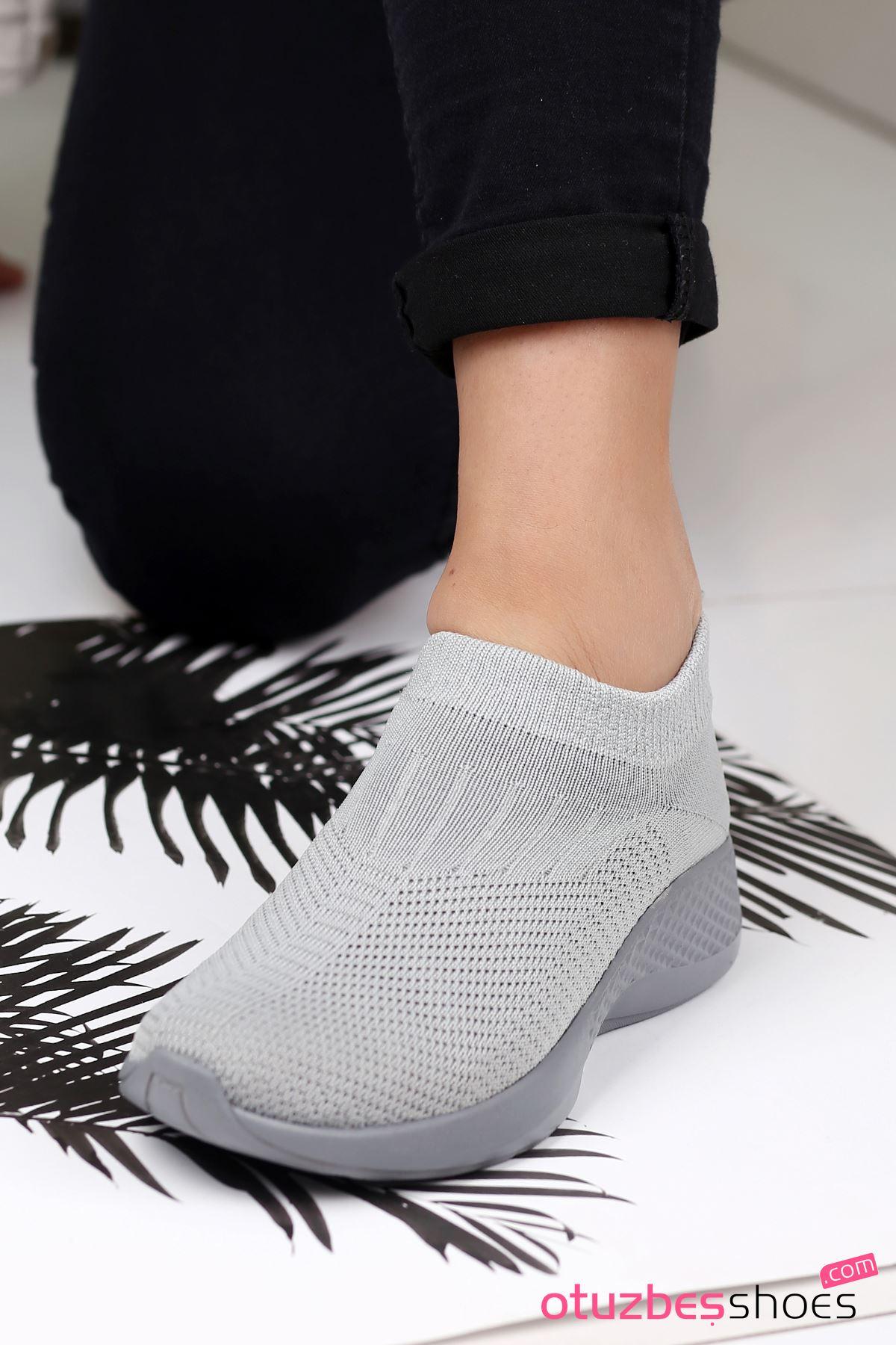 Babs Çelik Örgü Triko Kadın Spor Ayakkabı Gri