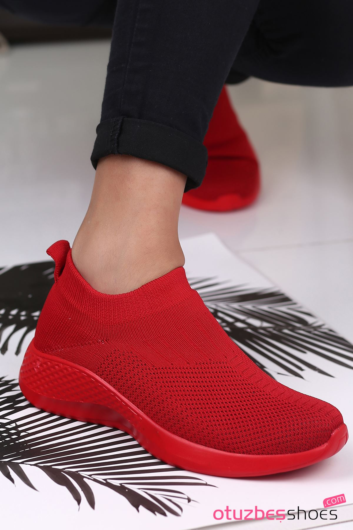 Babs Çelik Örgü Triko Kadın Spor Ayakkabı Kırmızı