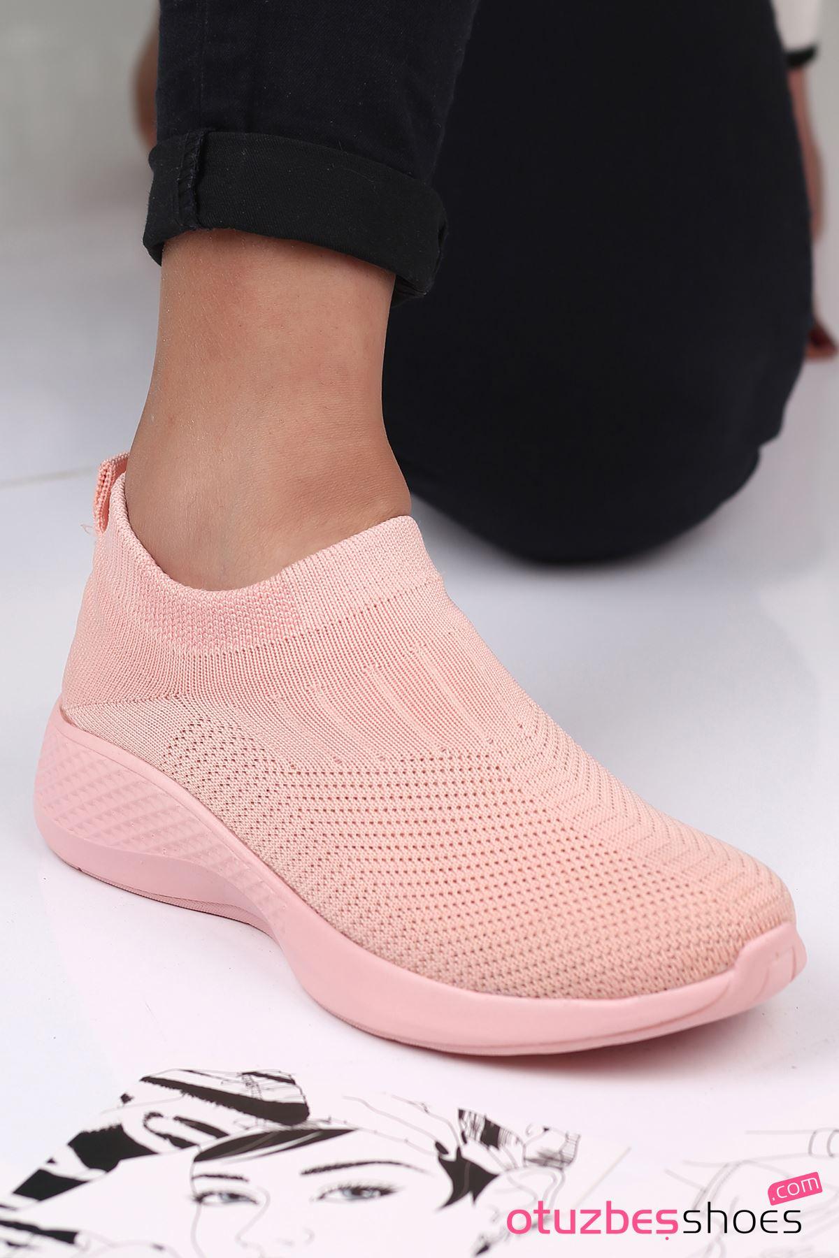 Babs Çelik Örgü Triko Kadın Spor Ayakkabı Pudra