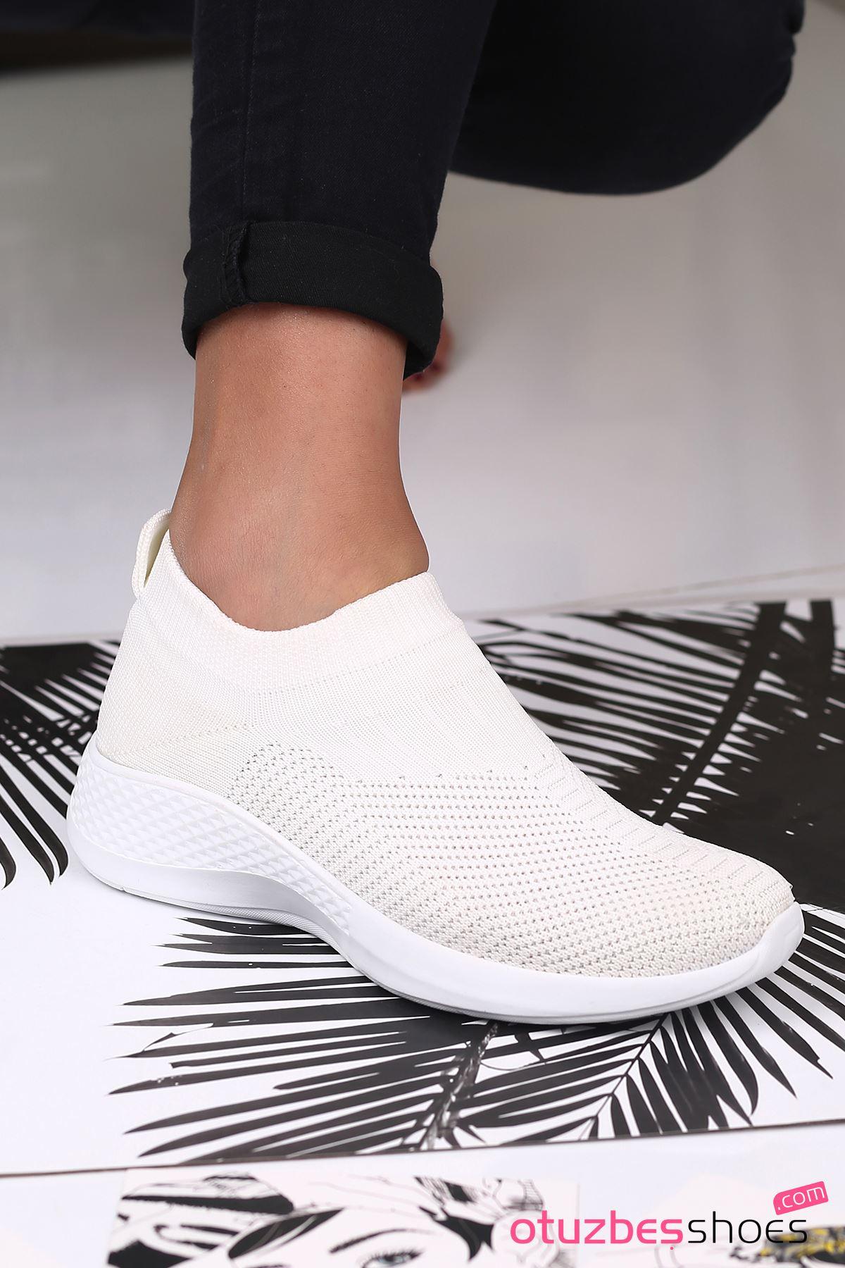 Babs Çelik Örgü Triko Kadın Spor Ayakkabı Beyaz