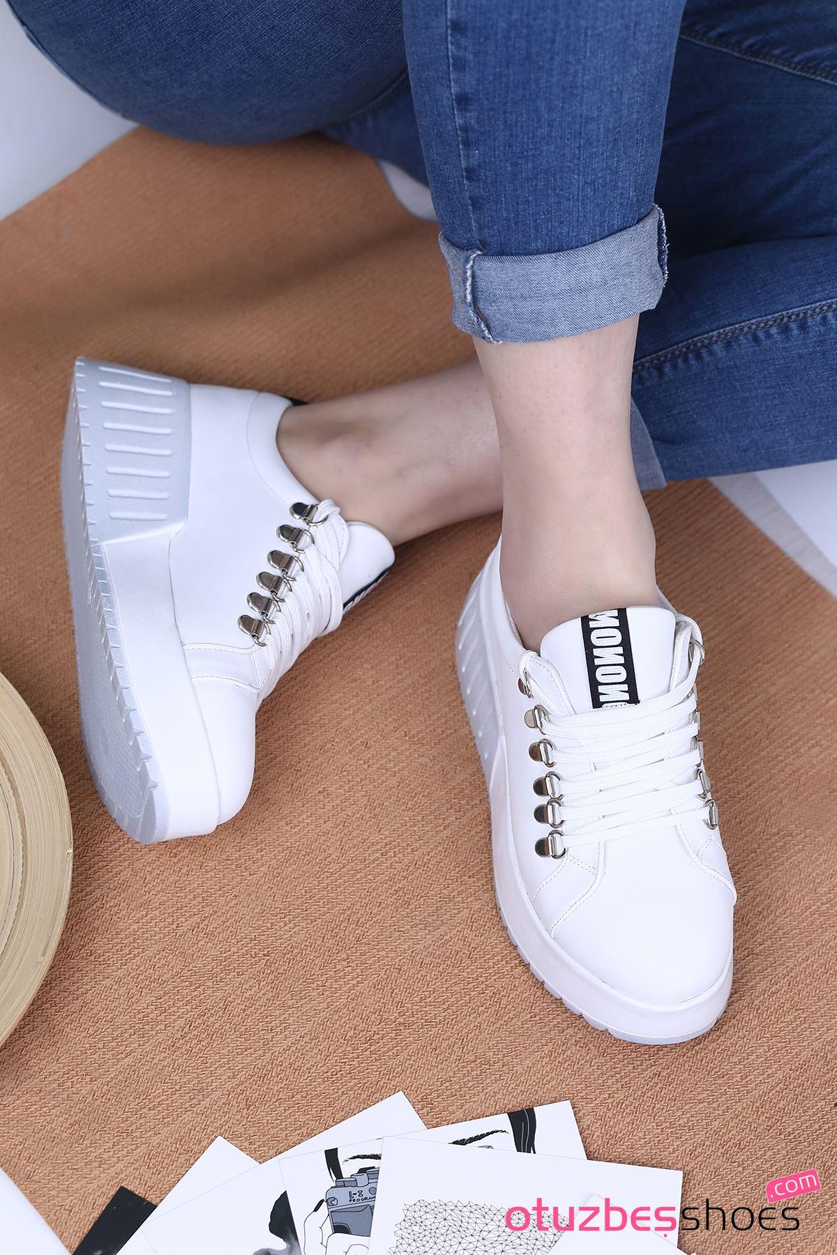 Masha Mat Deri Bağcık Detay Spor Ayakkabı Beyaz