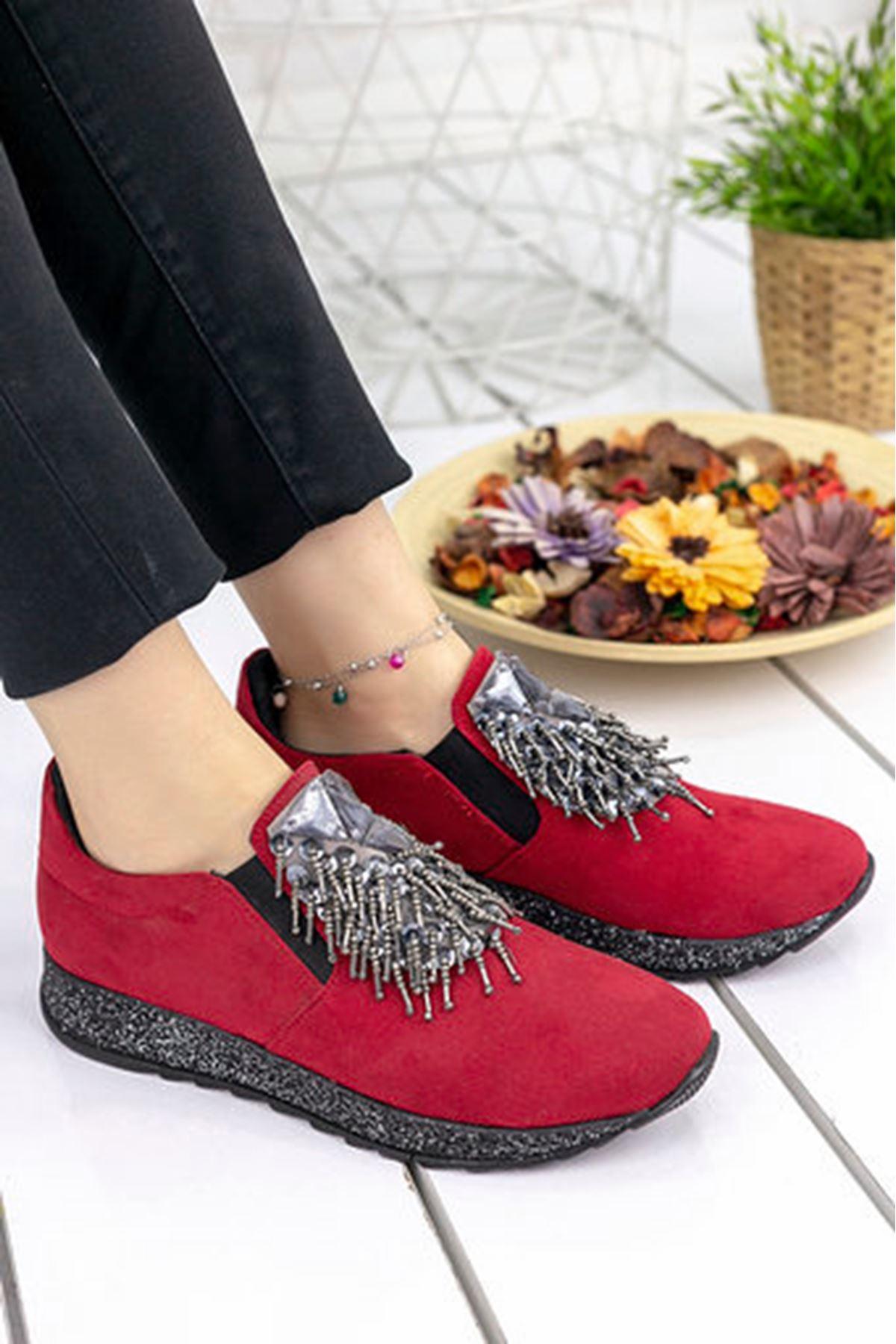 Nesso Süet Taş Detay Bayan Ayakkabı Kırmızı