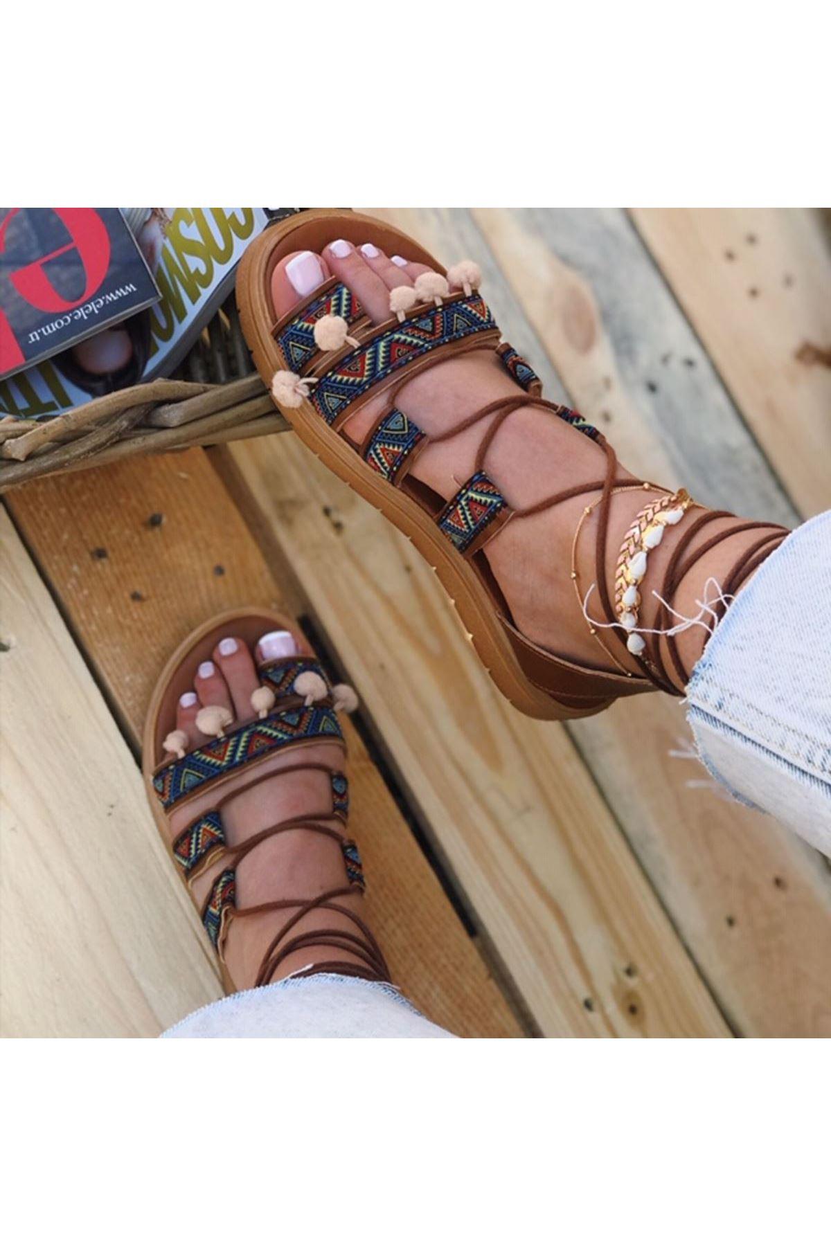 İona Hasır Detay İpli Sandalet Taba