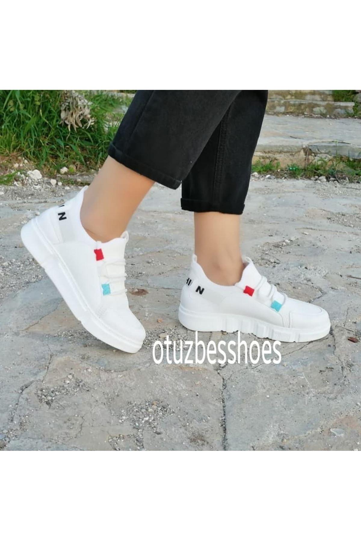 Fashion Yazı Detay Renkli Bağcık Bayan Spor Ayakkabı Beyaz