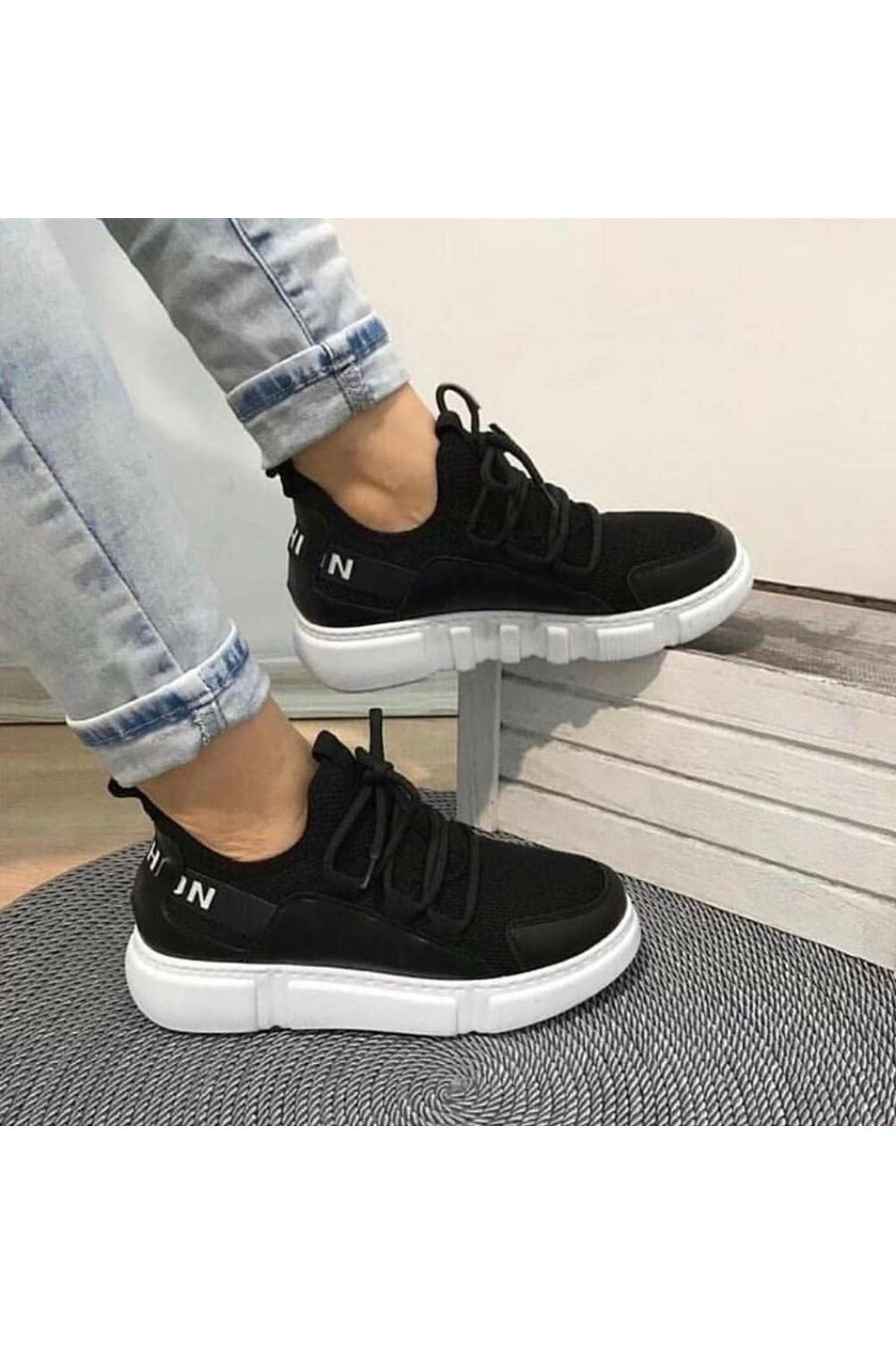 Fashion Yazı Detay Bayan Spor Ayakkabı Siyah