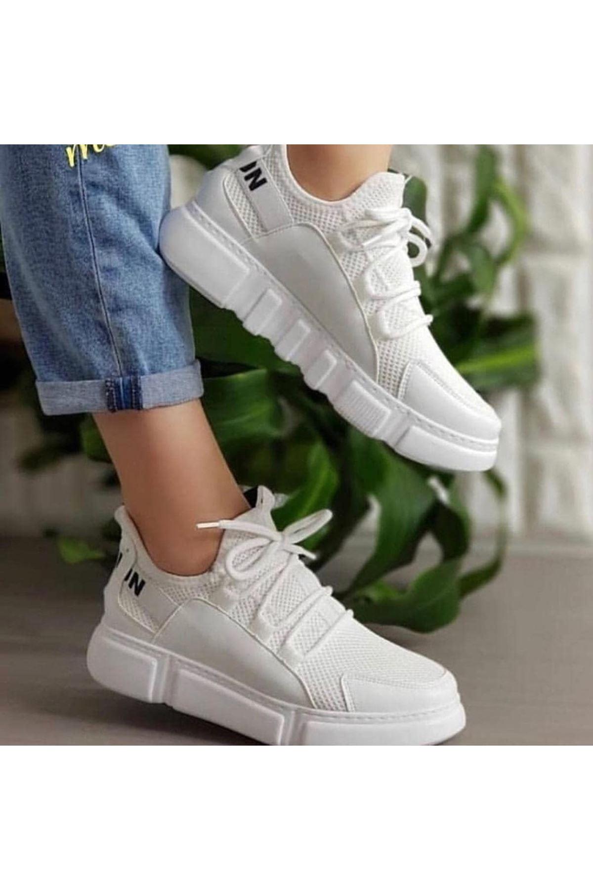 Fashion Yazı Detay Bayan Spor Ayakkabı Beyaz