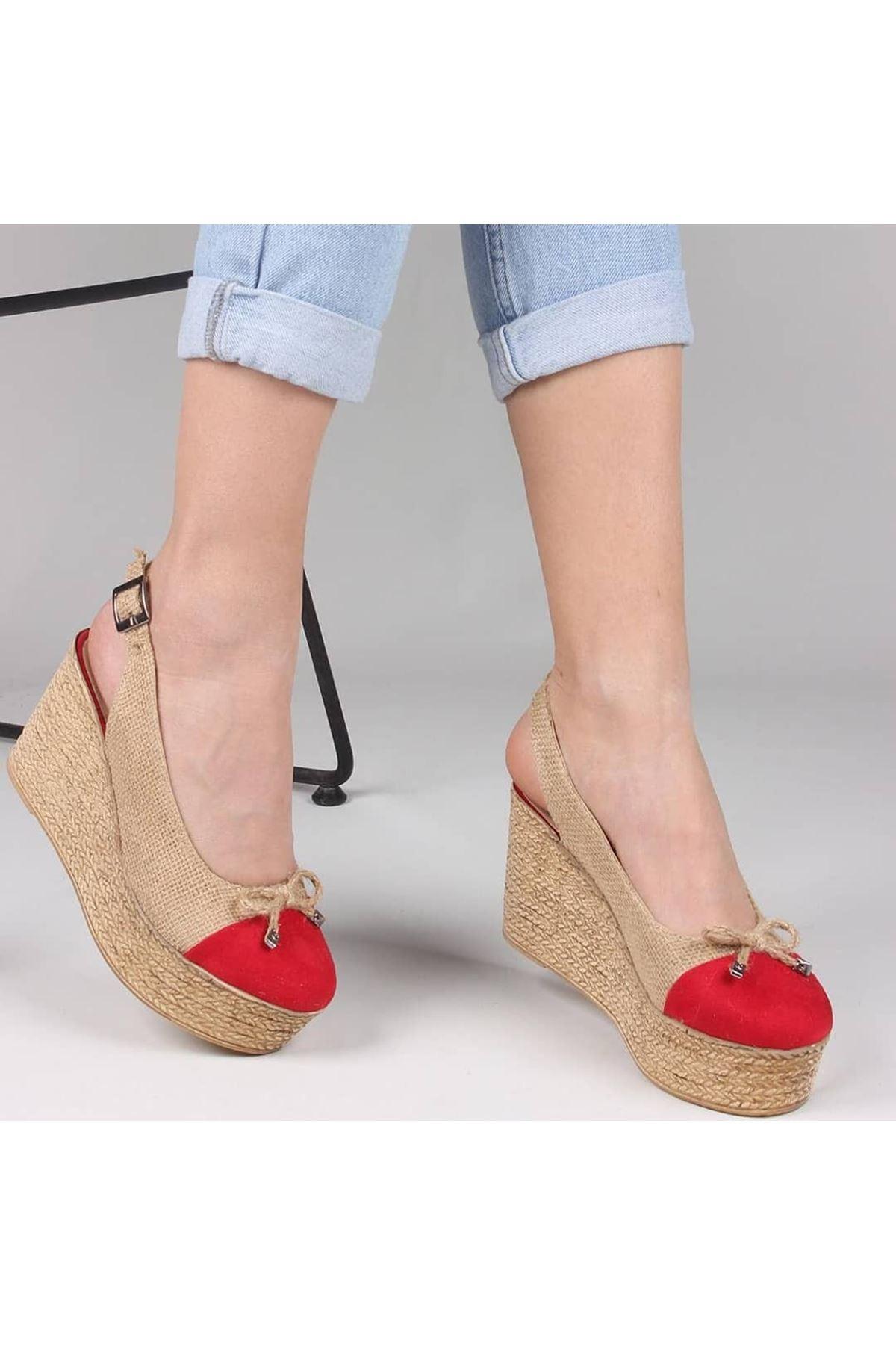 Emma Süet Detay Hasır Dolgu Topuk Ayakkabı Kırmızı