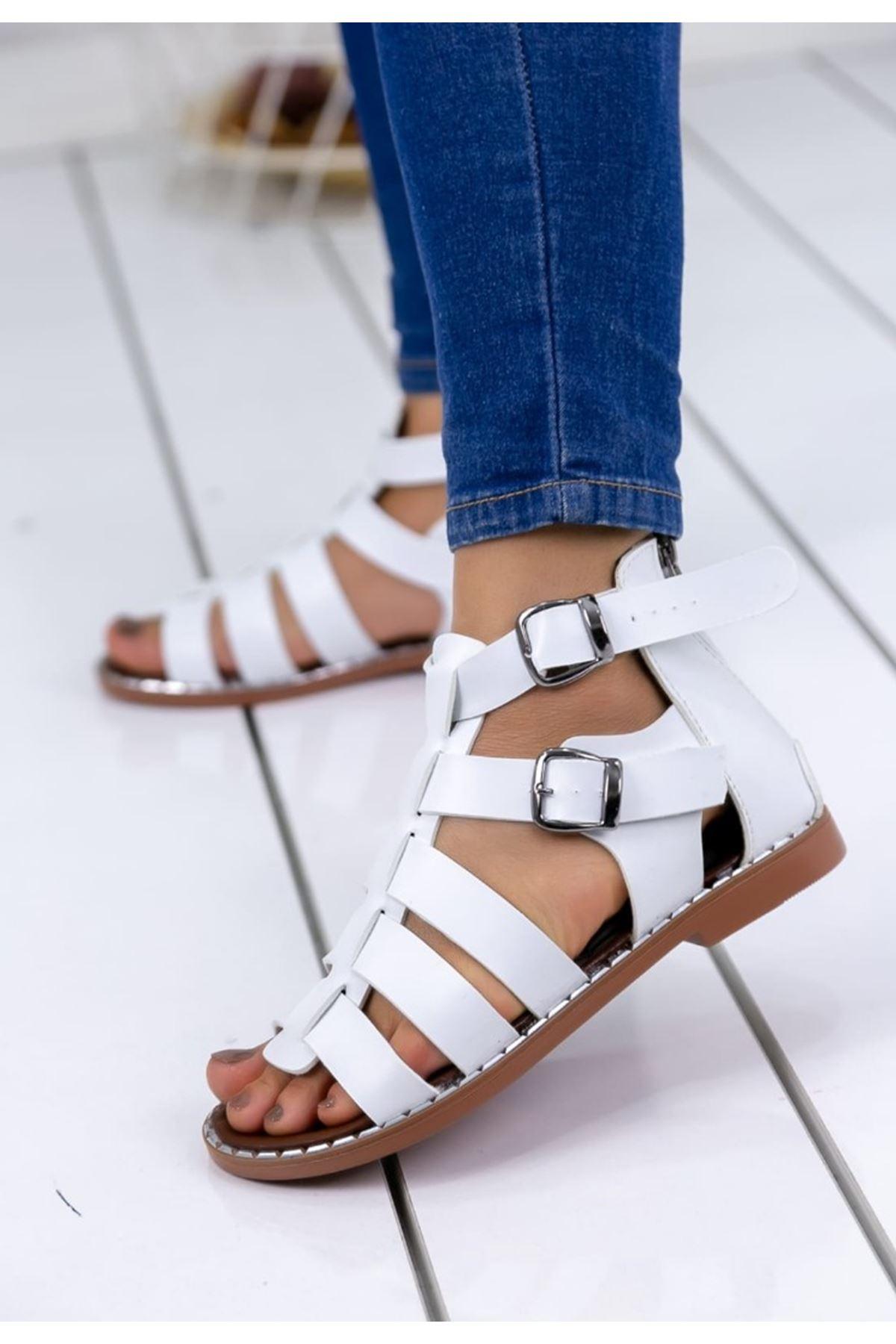 Thor Mat Deri Toka Detay Gladyatör Sandalet Beyaz