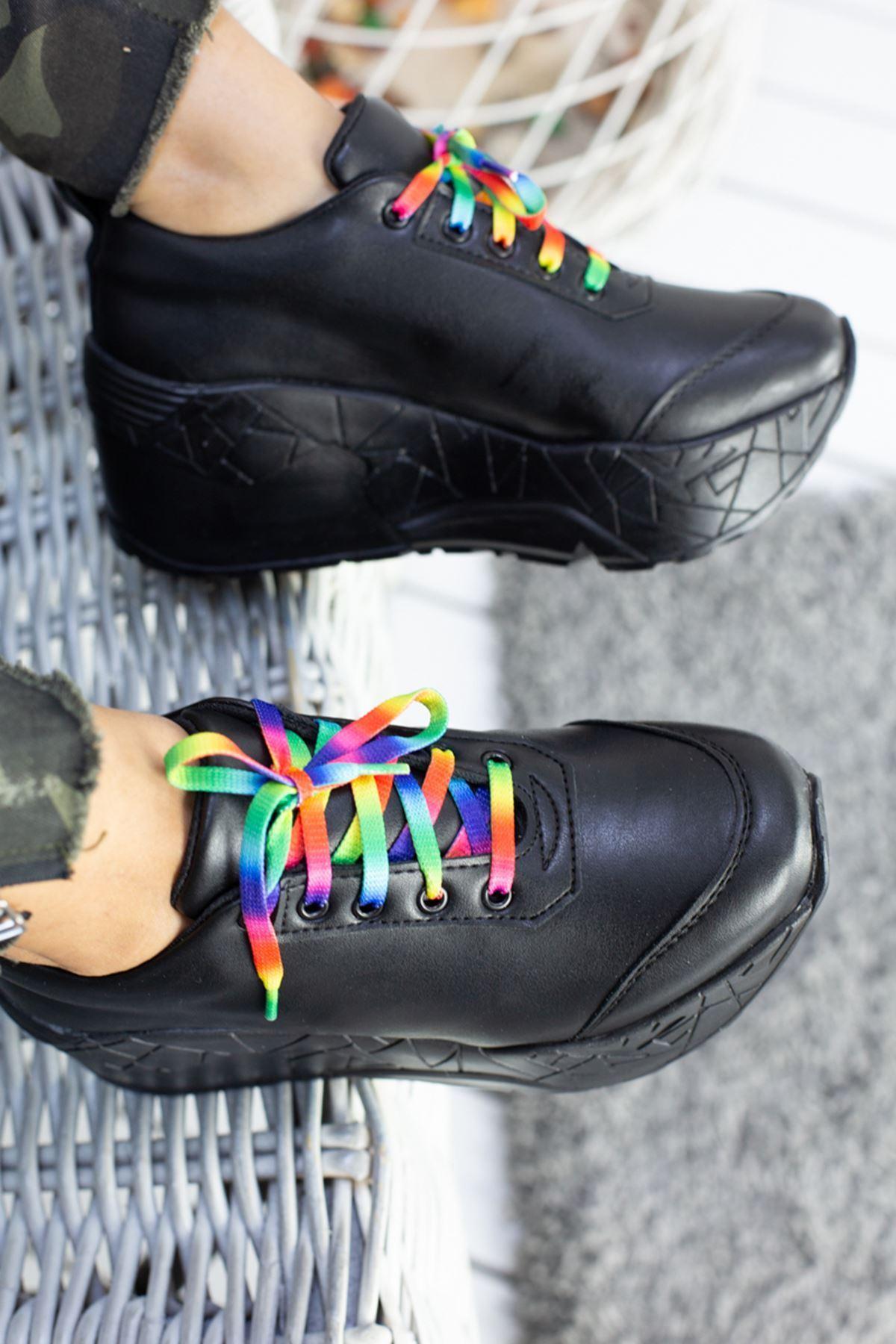 Zeyna Mat Deri Renkli Bağcık Detay Yüksek Tabanlı Spor Ayakkabı Siyah