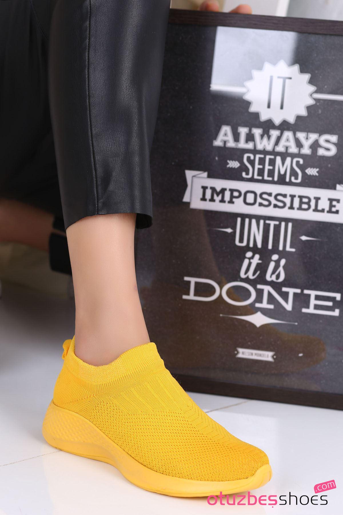 Babs Çelik Örgü Triko Kadın Spor Ayakkabı Sarı