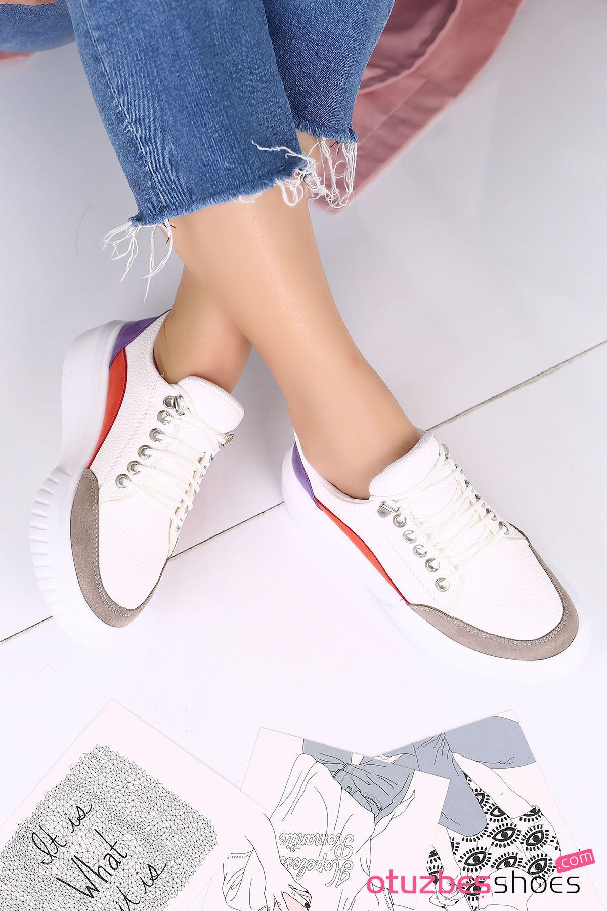 Dolly Mat Deri Renk Detaylı Kalın Taban Günlük Ayakkabı Gri