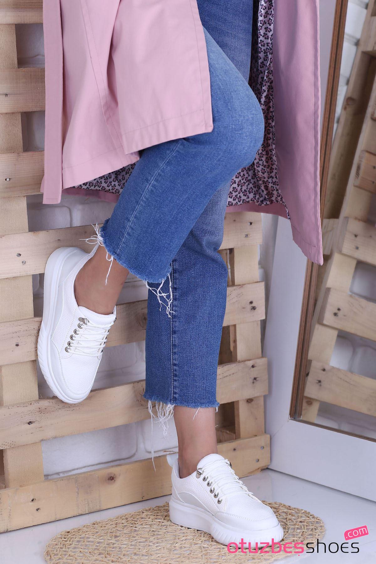 Dolly Mat Deri Kalın Taban Günlük Ayakkabı Beyaz