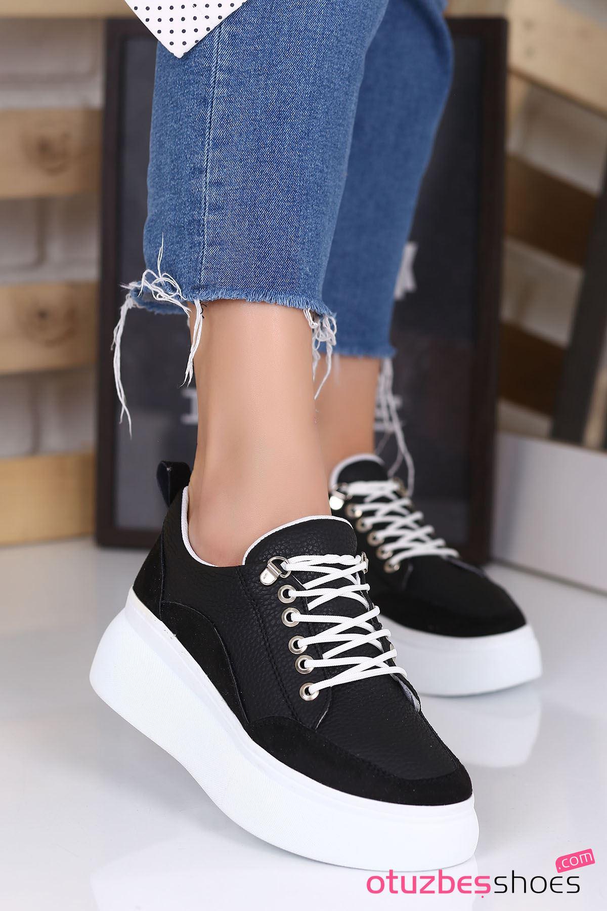 Kristi Mat Deri Kalın Taban Günlük Ayakkabı Siyah