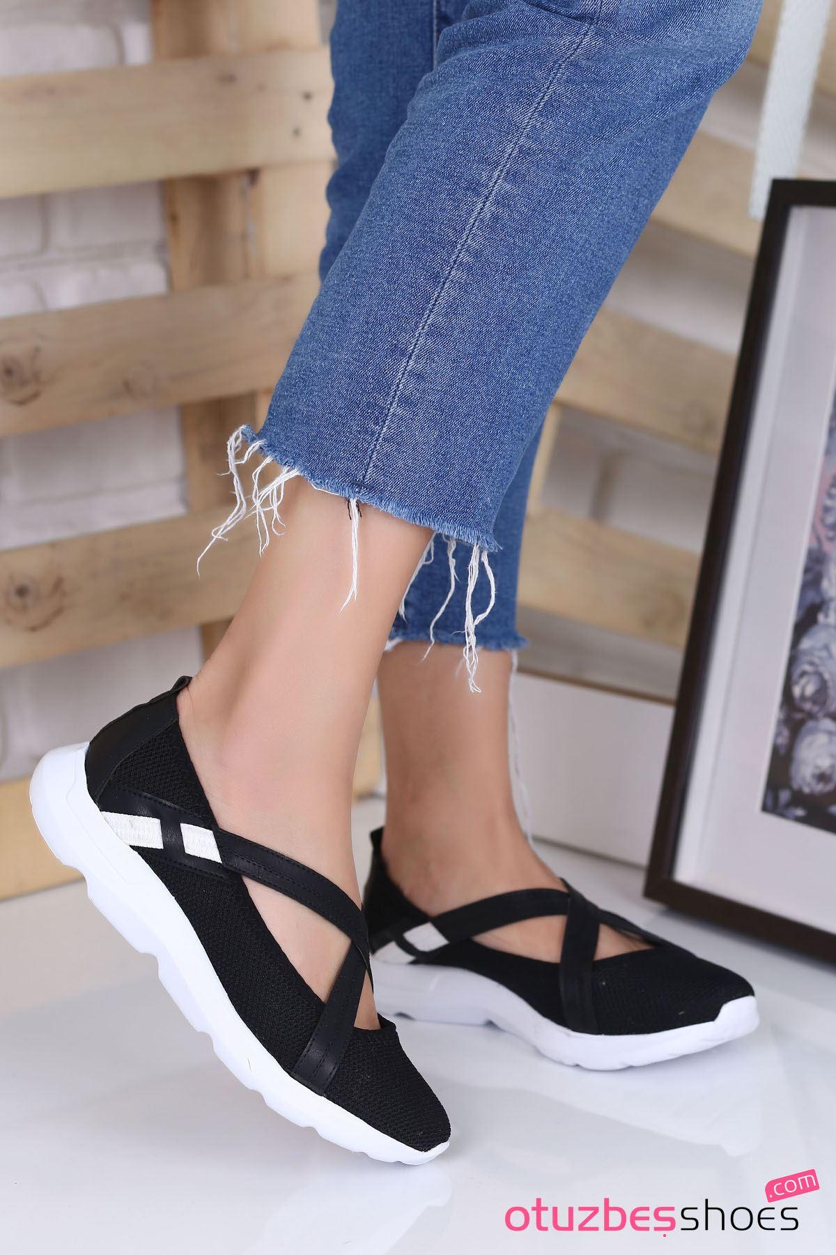 Alara Çapraz Bant Detay Günlük Ayakkabı Siyah