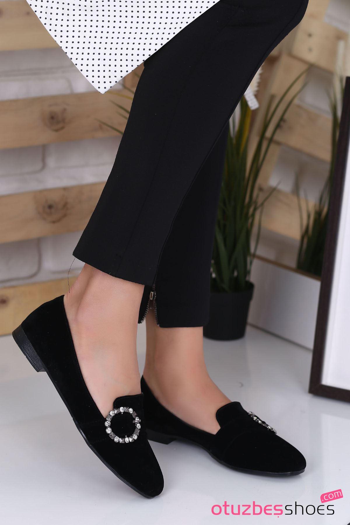 Pam Süet Toka Detay Günlük Ayakkabı Siyah Kadın Ayakkabı