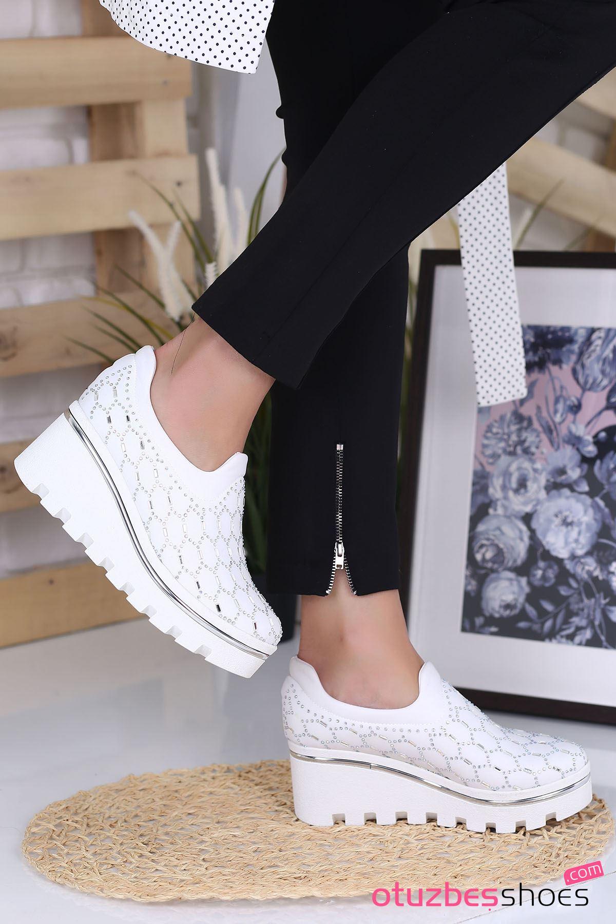 Anna Dalgıç Kumaş Taş Detay Dolgu Topuk Ayakkabı Beyaz