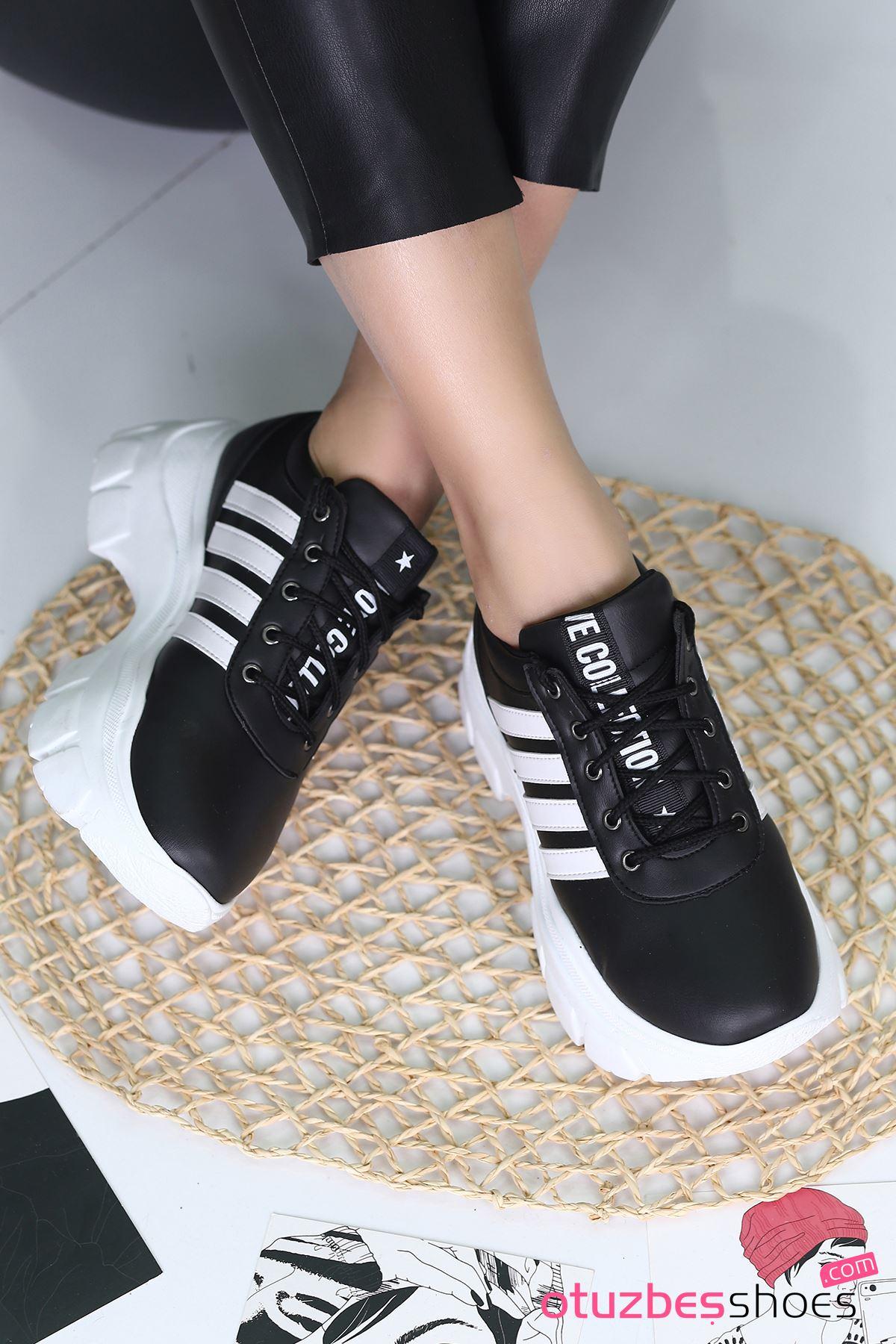Rapso Mat Deri Yazı Detay Spor Ayakkabı Siyah